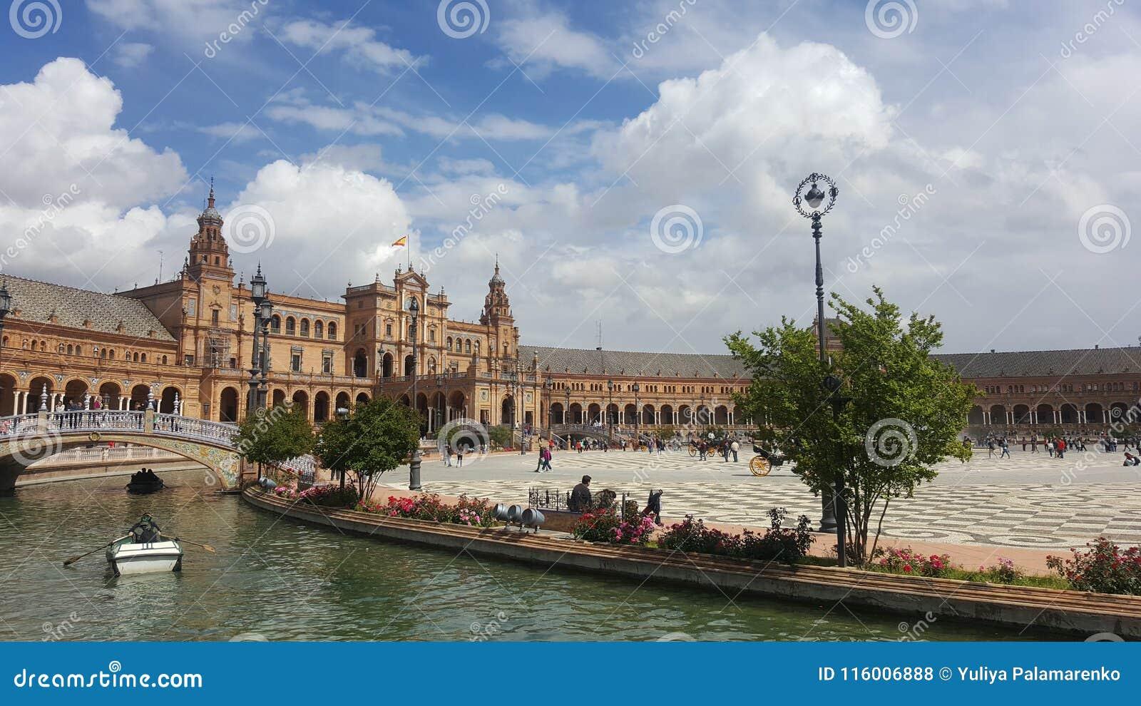 Seville Palace Square. Bright Sky