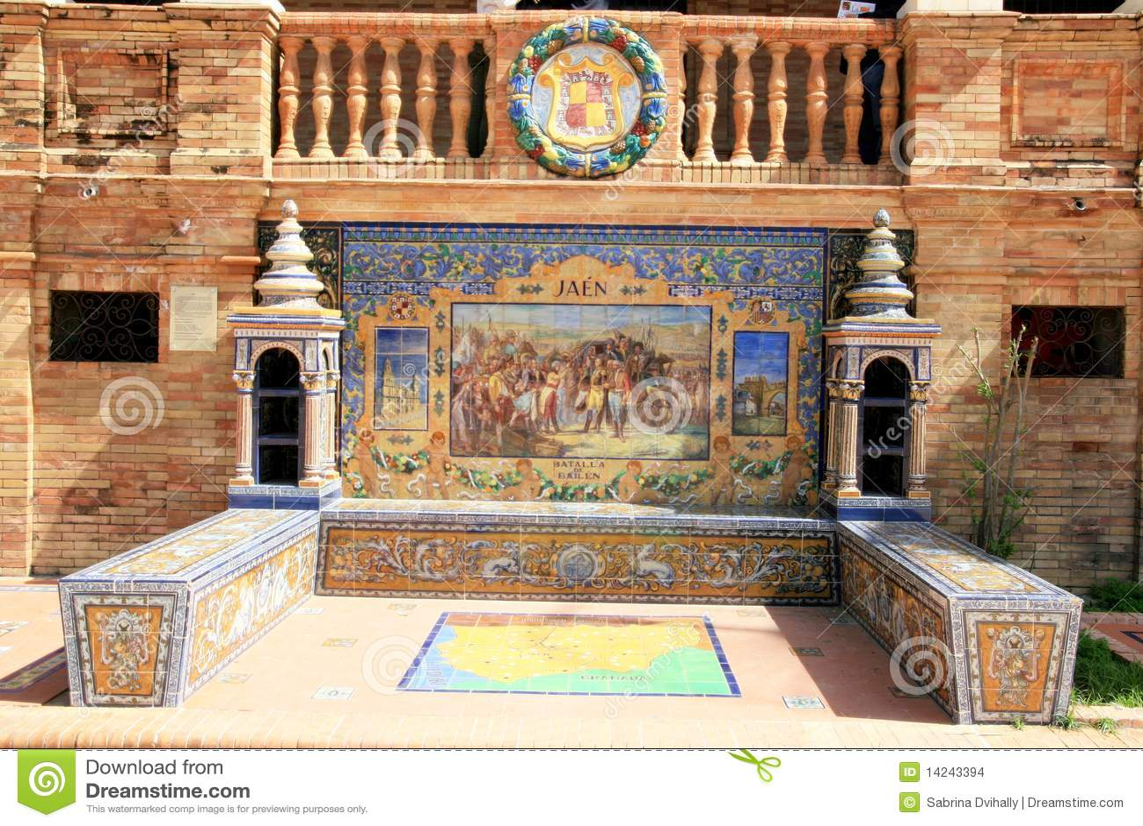 Seville. Plaza Espana typical ceramics azulejos