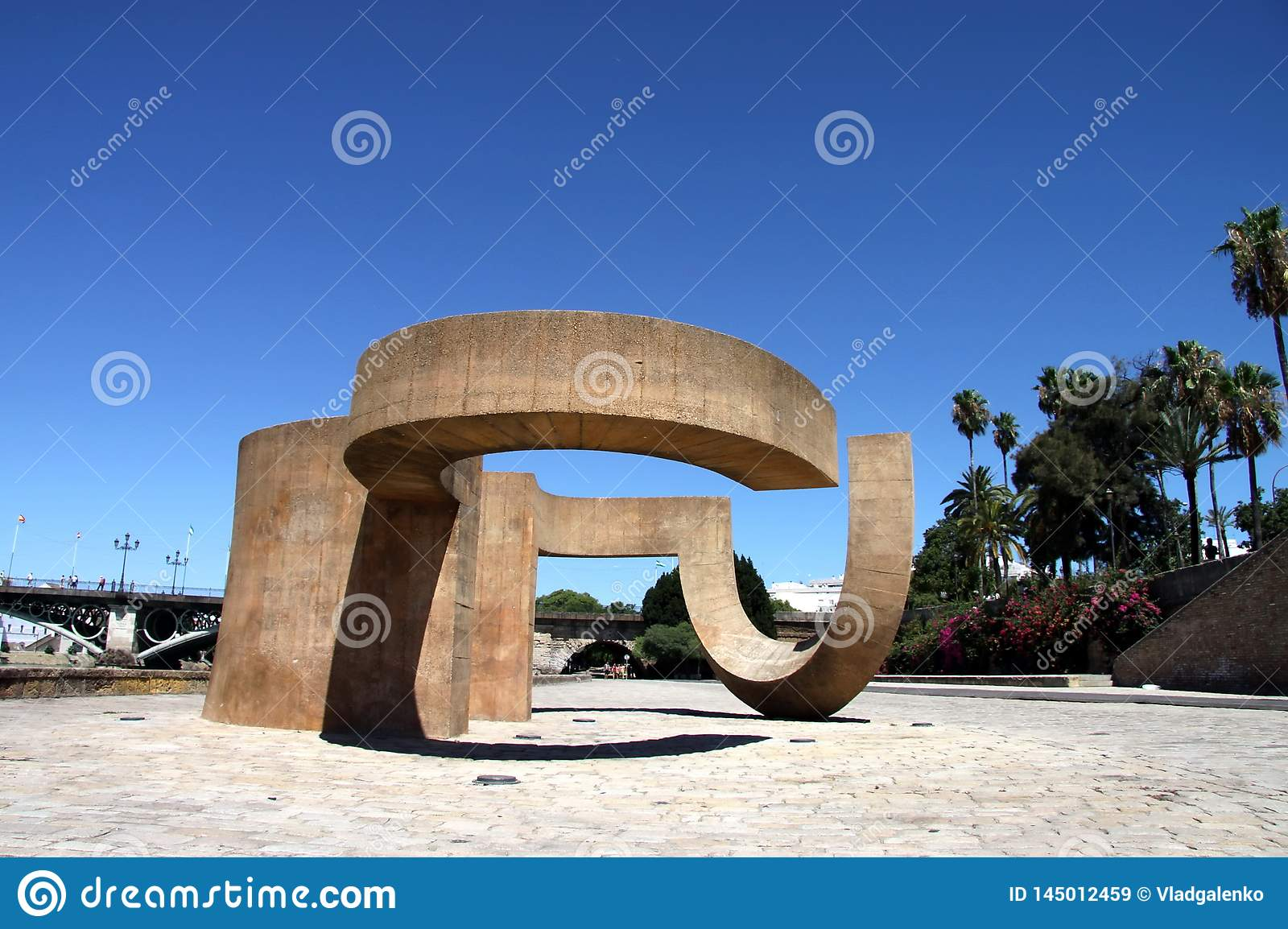Monument to the Tolerance of Eduardo Chillida next to the river Guadalquivir in the city of Seville.