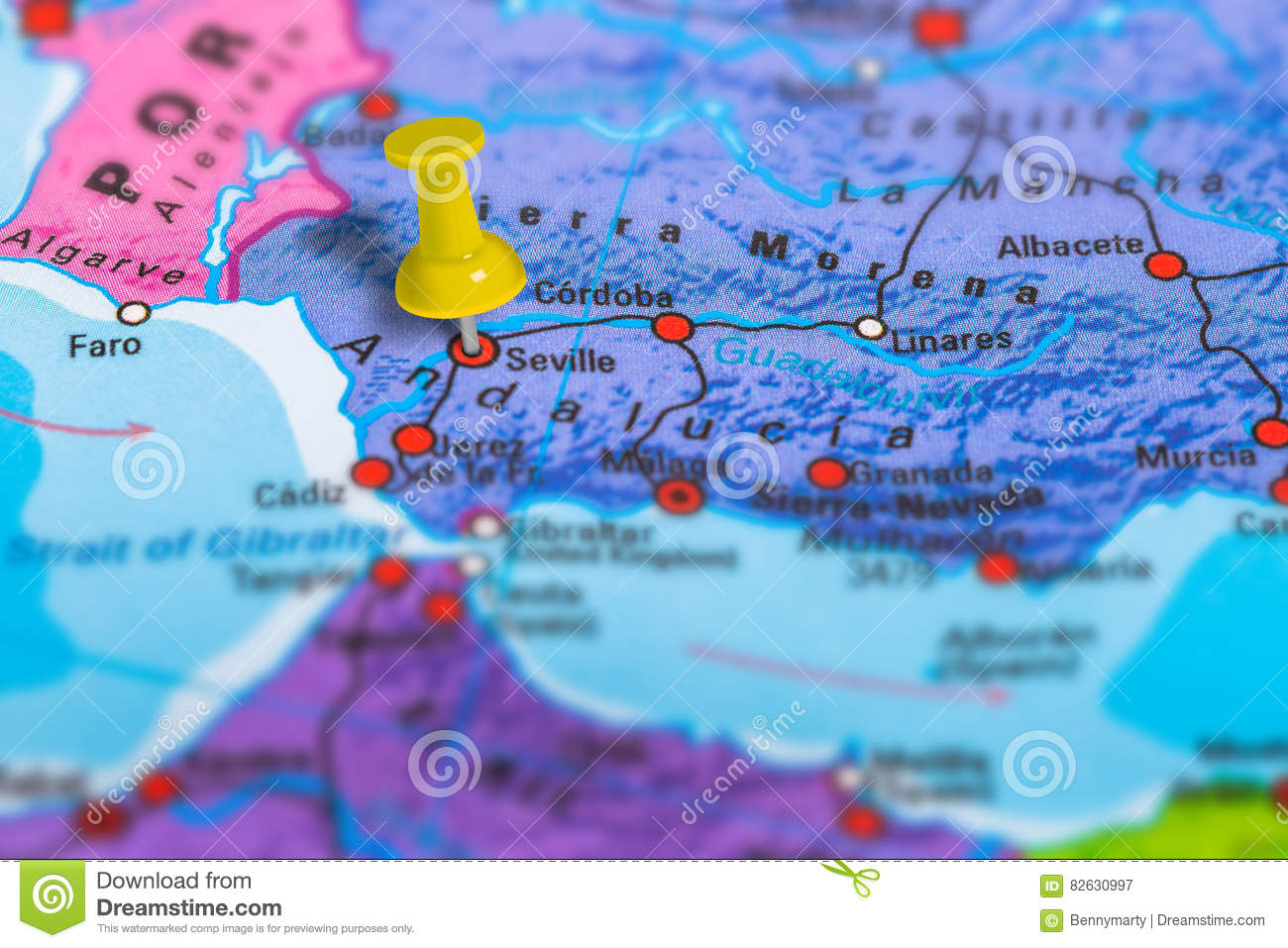 Seville Spain map stock image. Image of color, guidance - 82630997