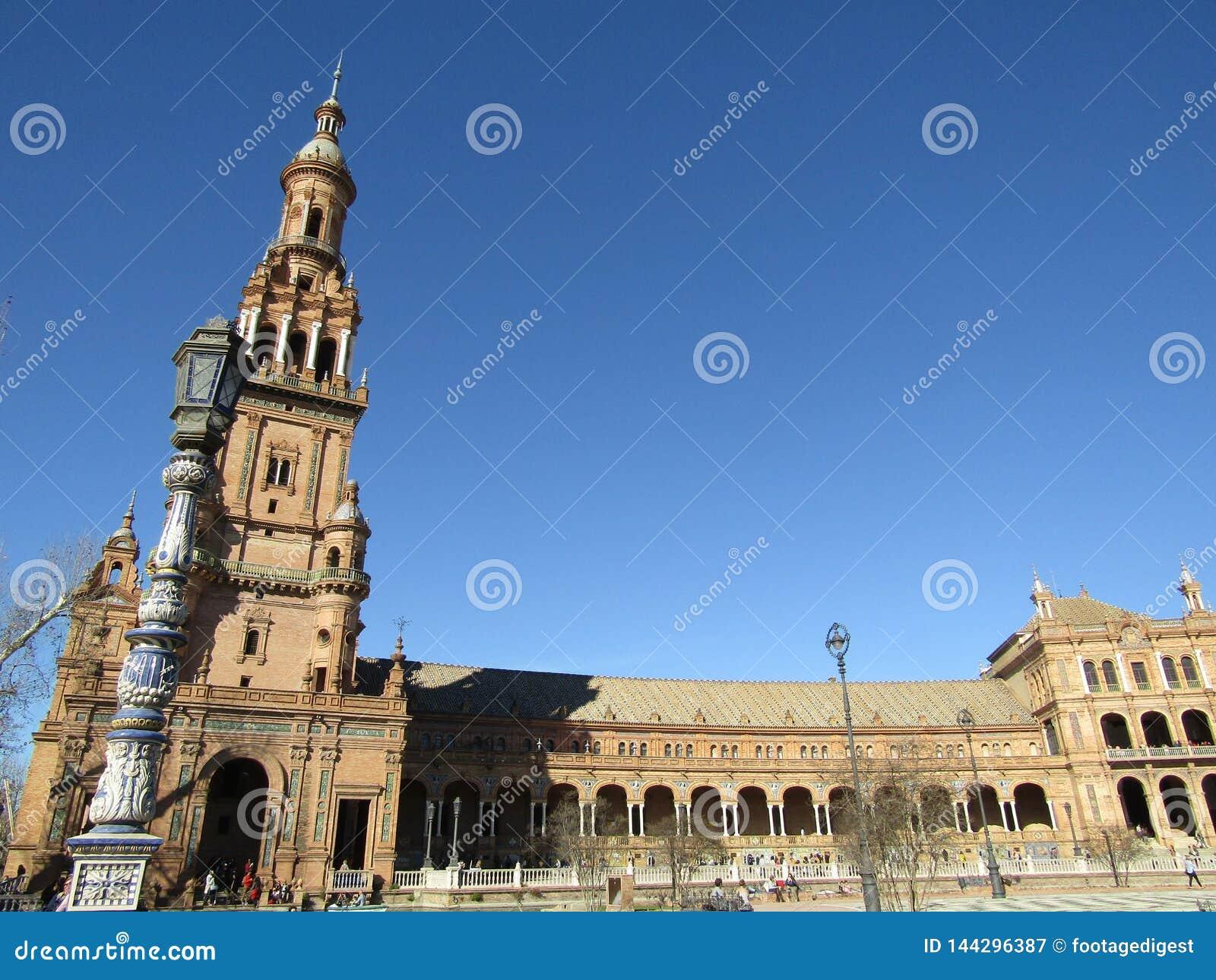 Seville spain Spanjoren kvadrerar Plaza de Espana