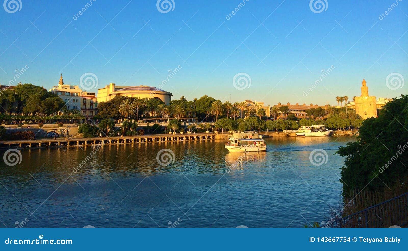 Seville, Spain - Guadalquivir River and Torre del Oro