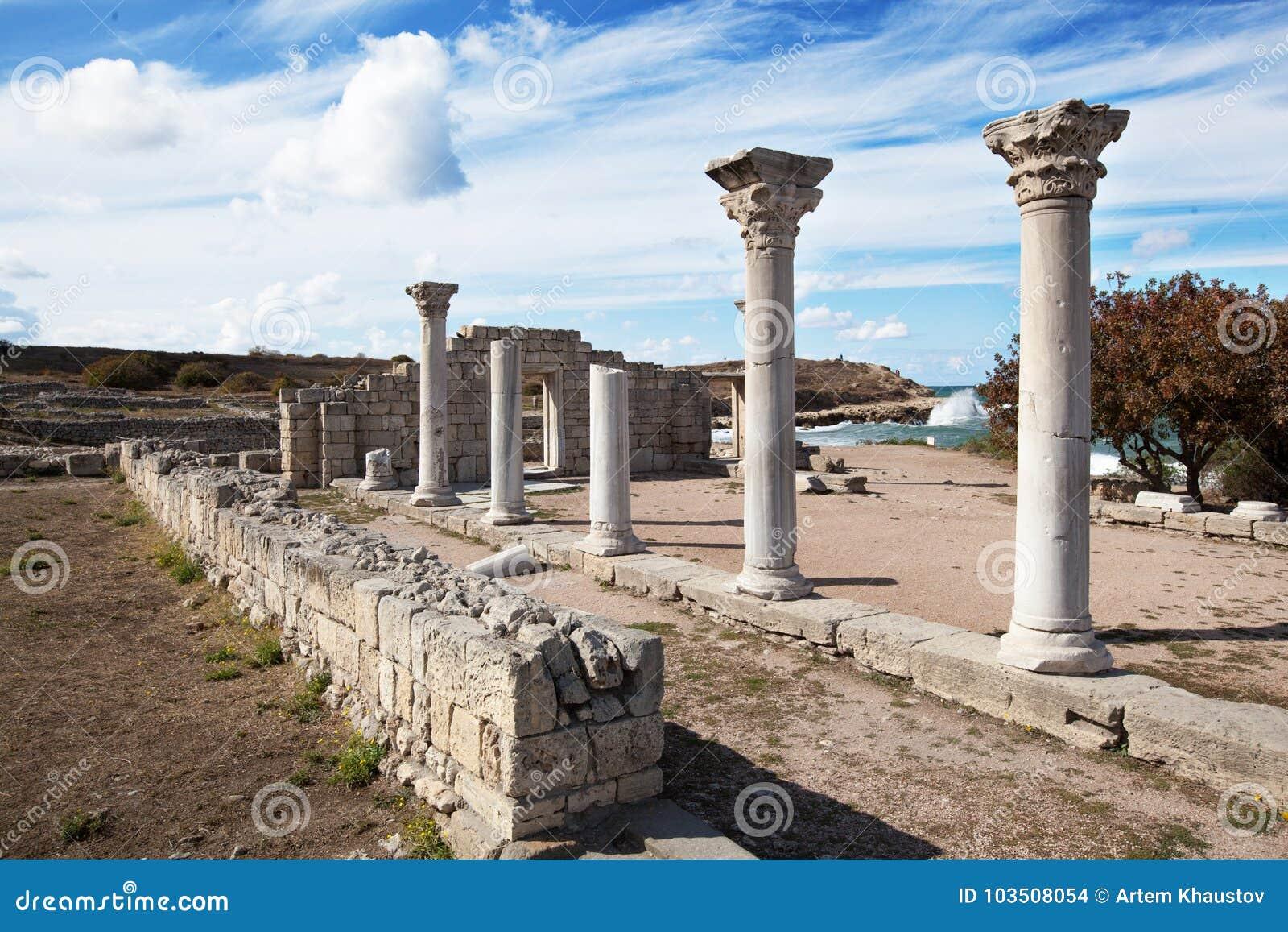 SEWASTOPOL, KRIM - OKTOBER, 07 2017: Historische und archäologische Museum-Reserve Chersonese Taurian