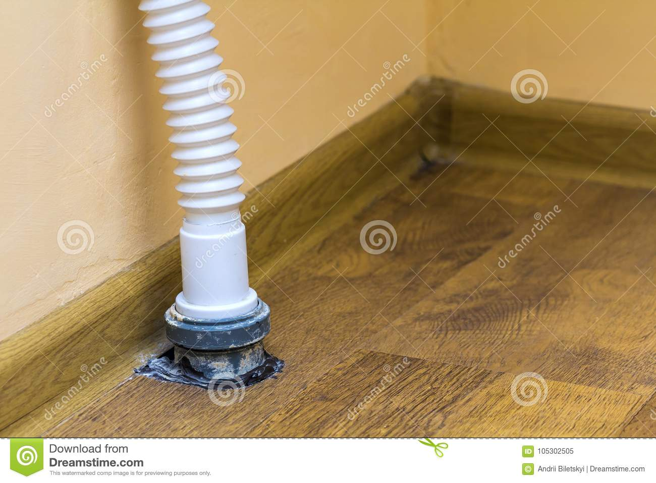 Sewer Drain Pipe Under The Kitchen Sink Stock Image Image Of House Industrial 105302505