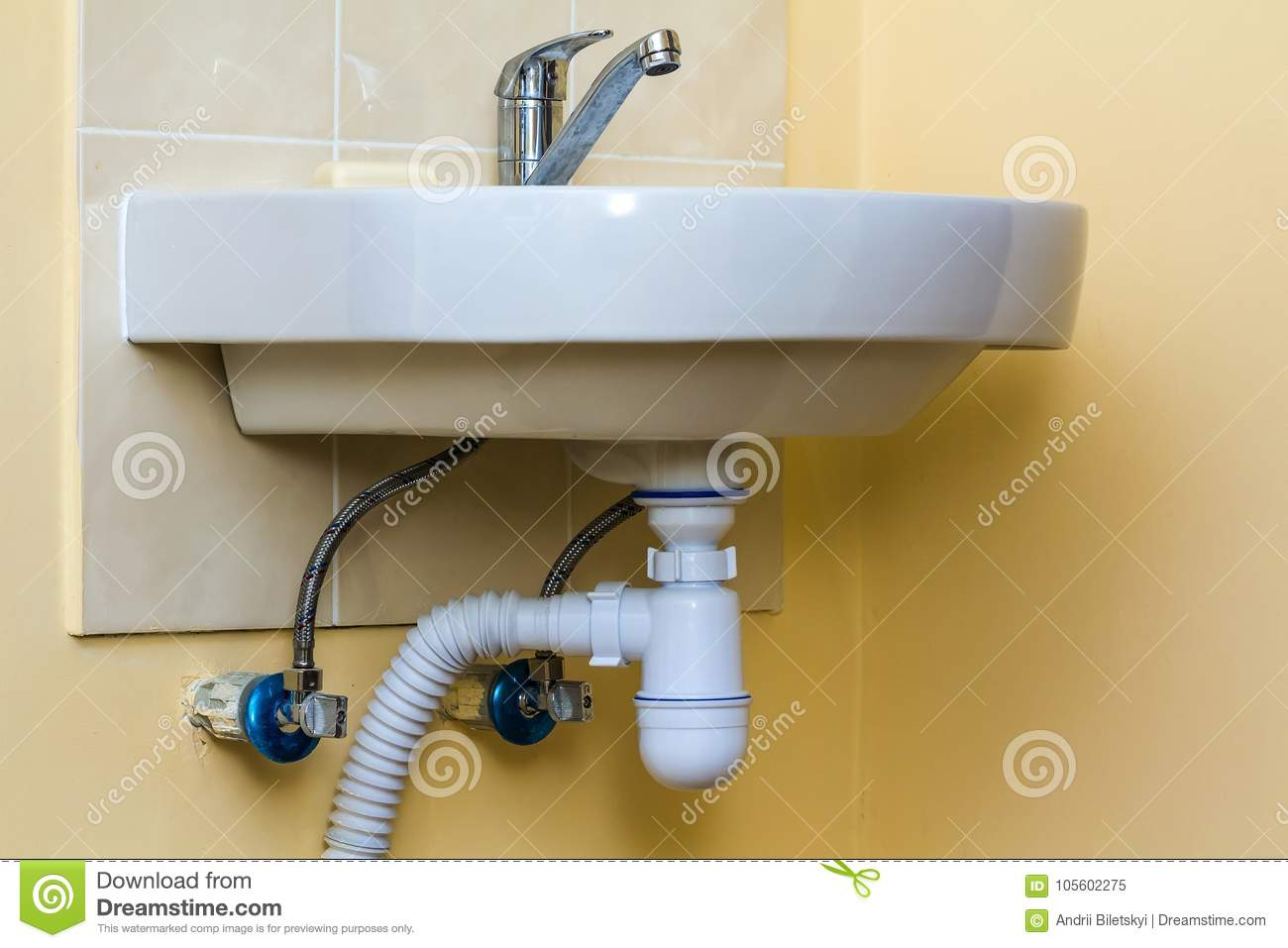 Download Sewer Drain Pipes Under The Kitchen Sink. Plumbing Fixture And Fa  Stock Image