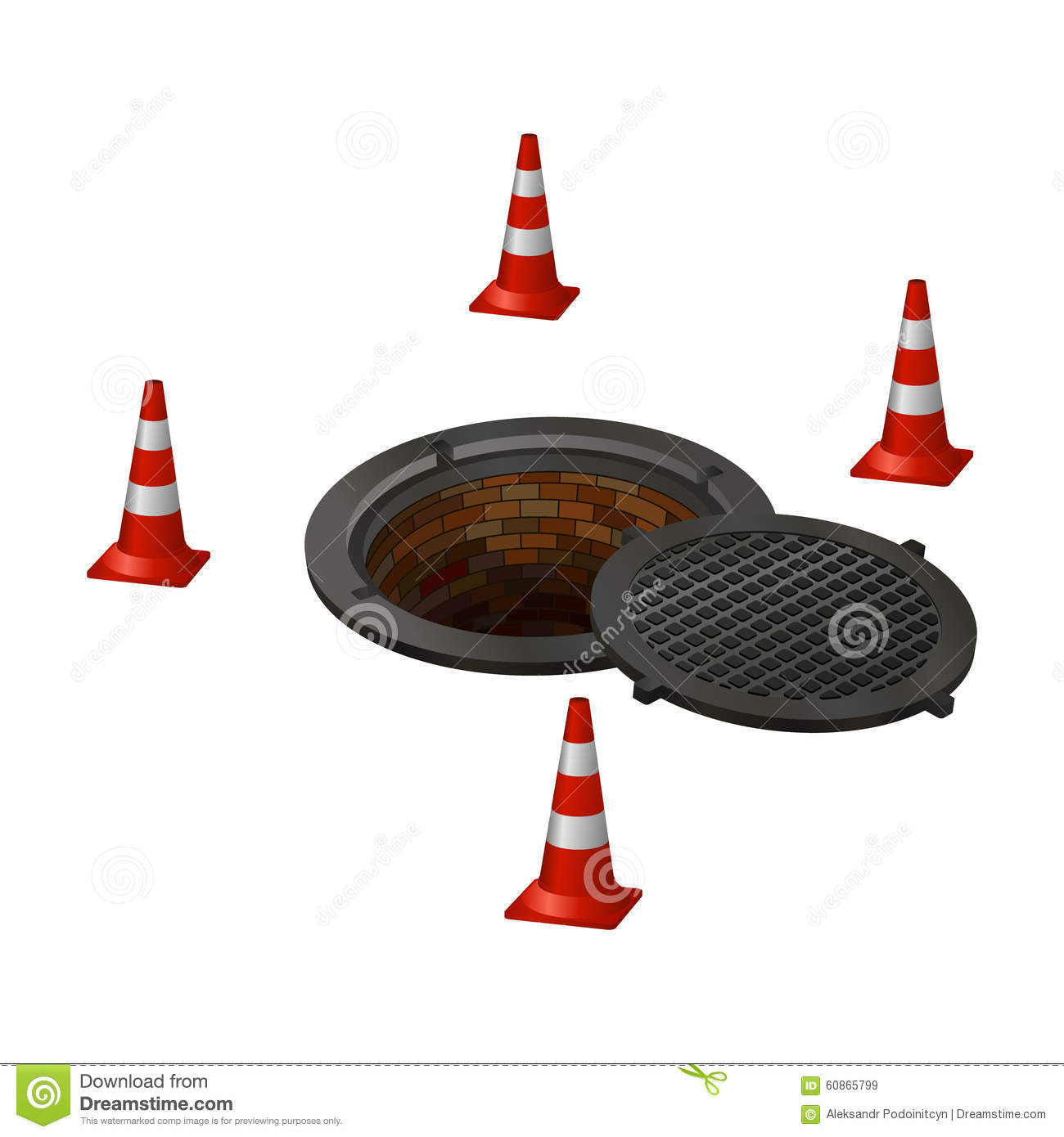 Sewer Manhole Tunnel Pit Hole Stock Illustration