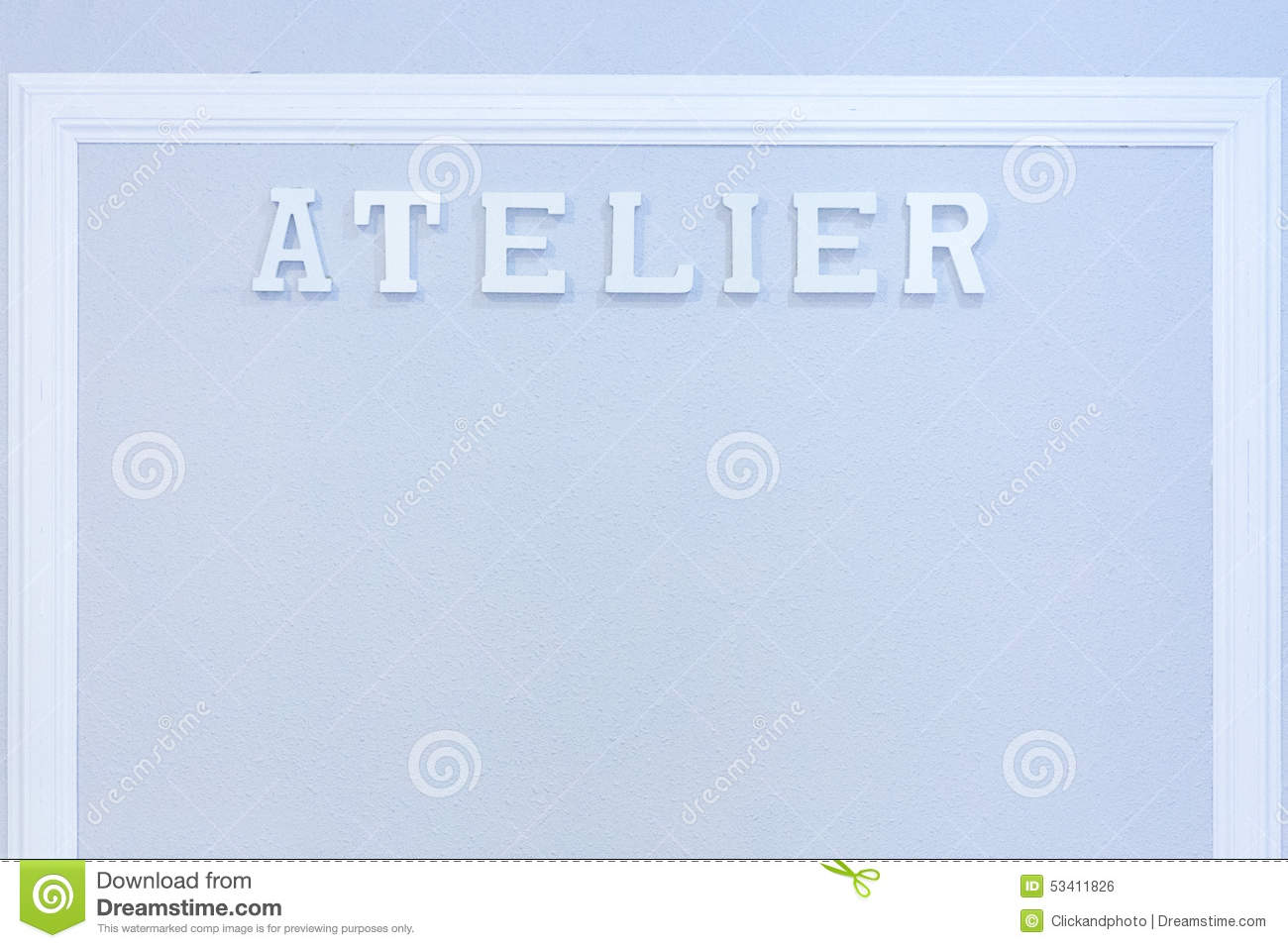 Background image word - Sewing Atelier Background Stock Photo