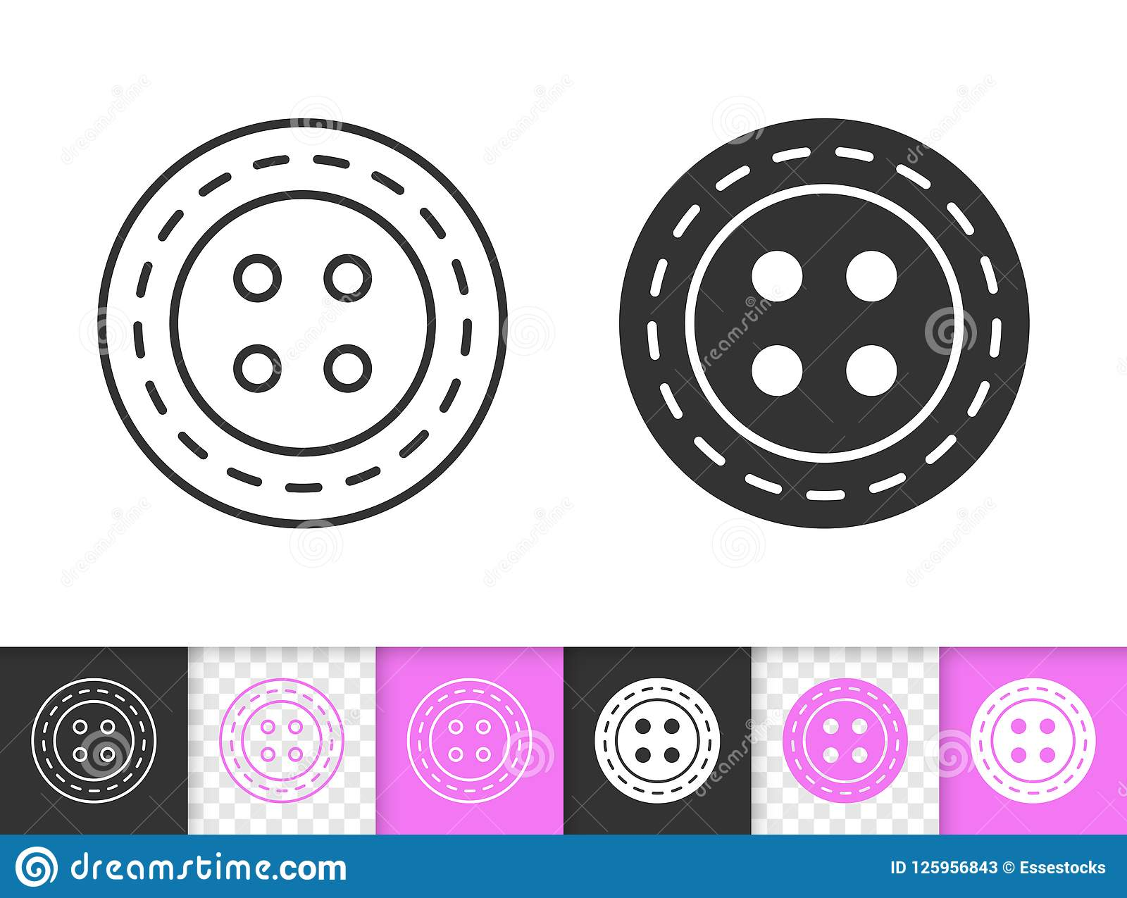 Sewing Button simple black line vector icon