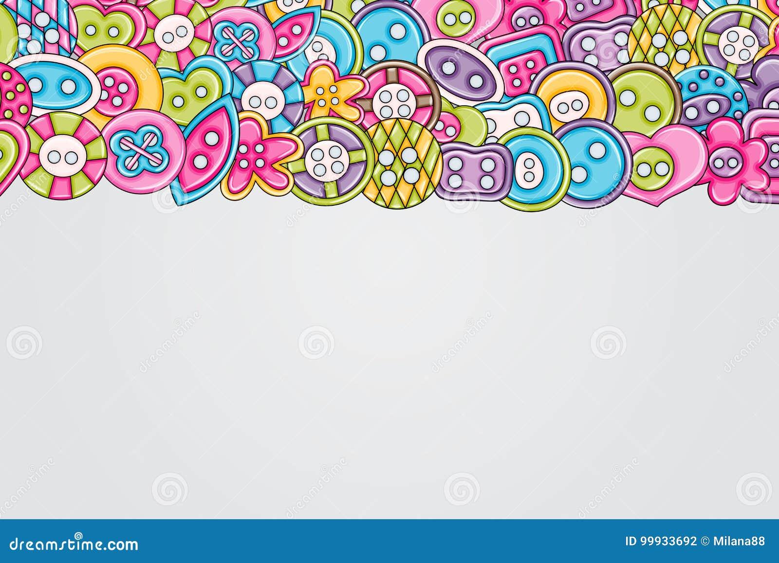 Sewing Buttons Handmade Craft Concept 3d Cartoon Doodle Background