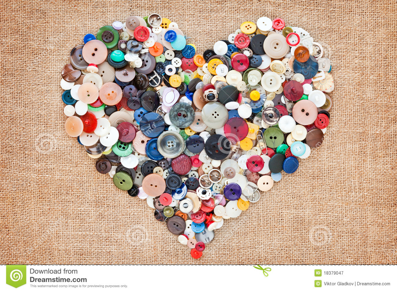 Sewing buttons heart stock image. Image of needlework ...