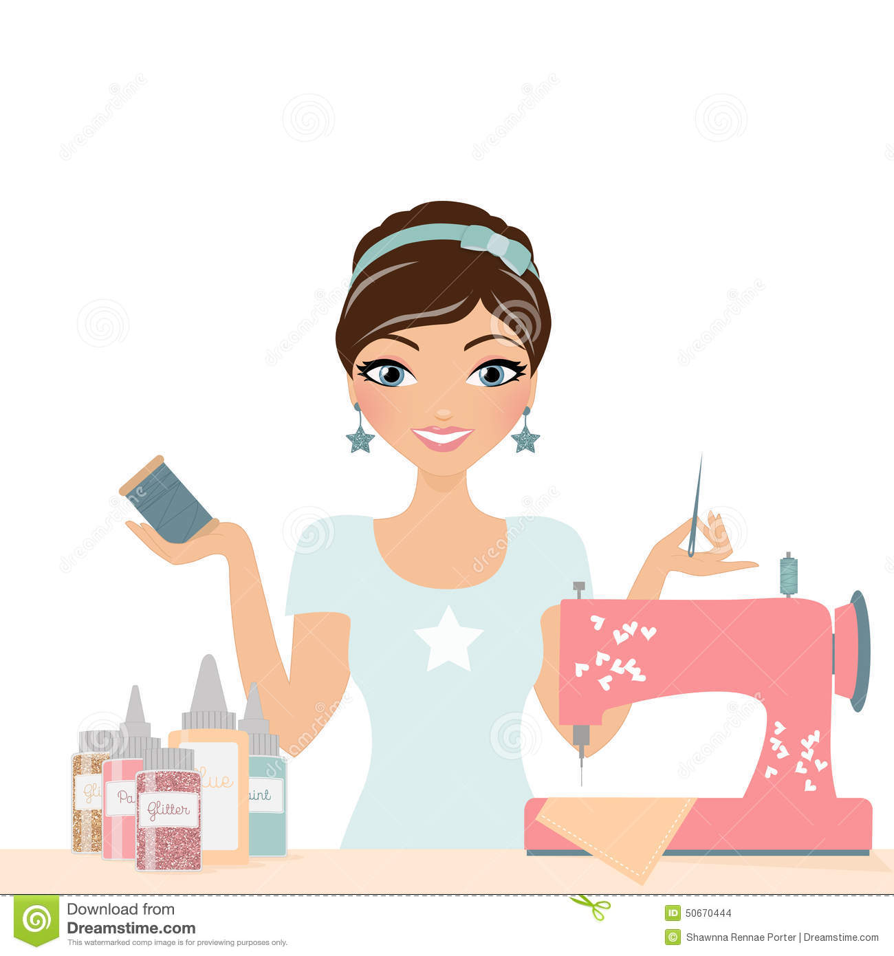 Sewing Crafting Woman Stock Photo Image 50670444