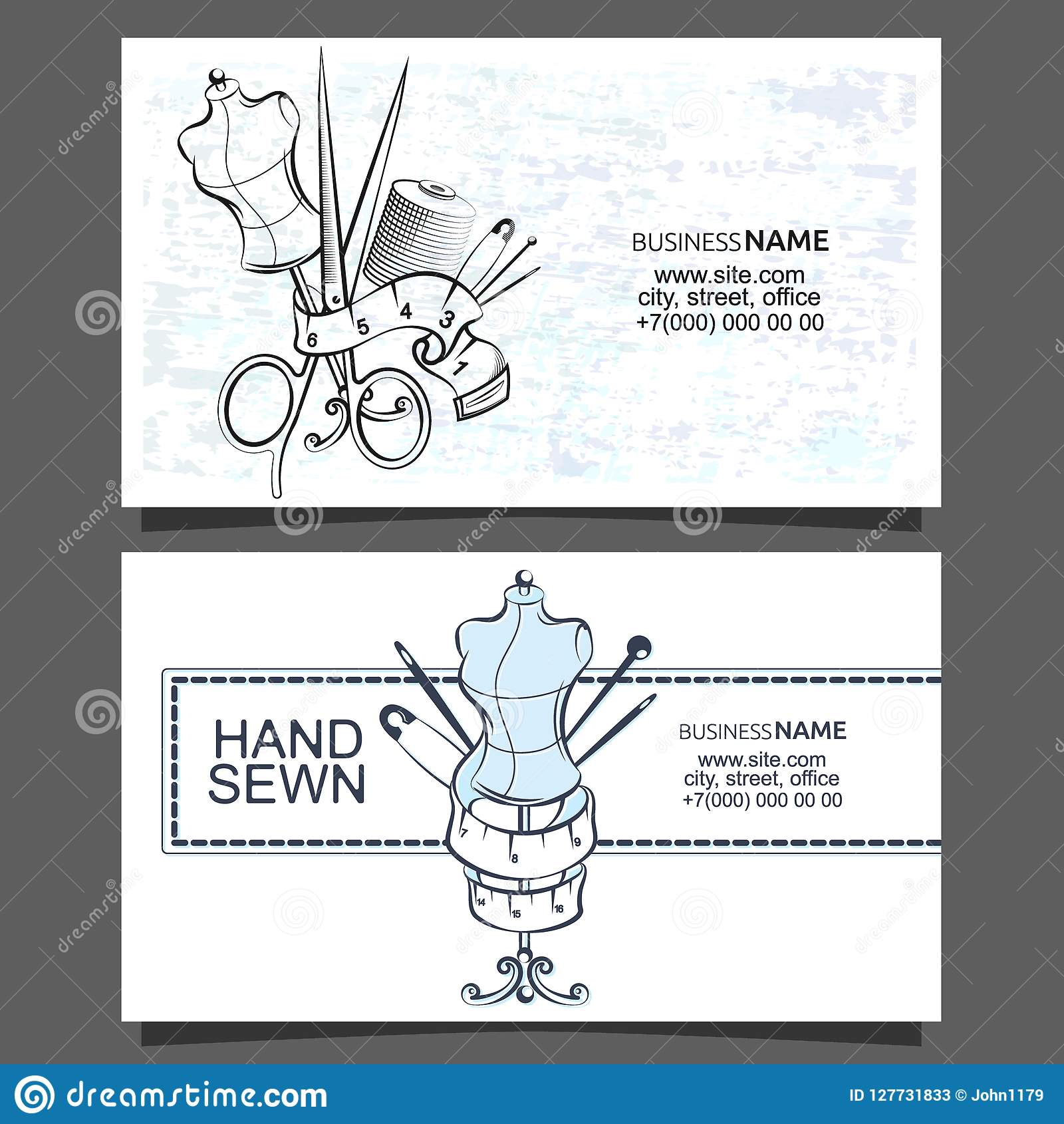 Sewing And Cutting Of Business Cards Stock Vector Illustration Of