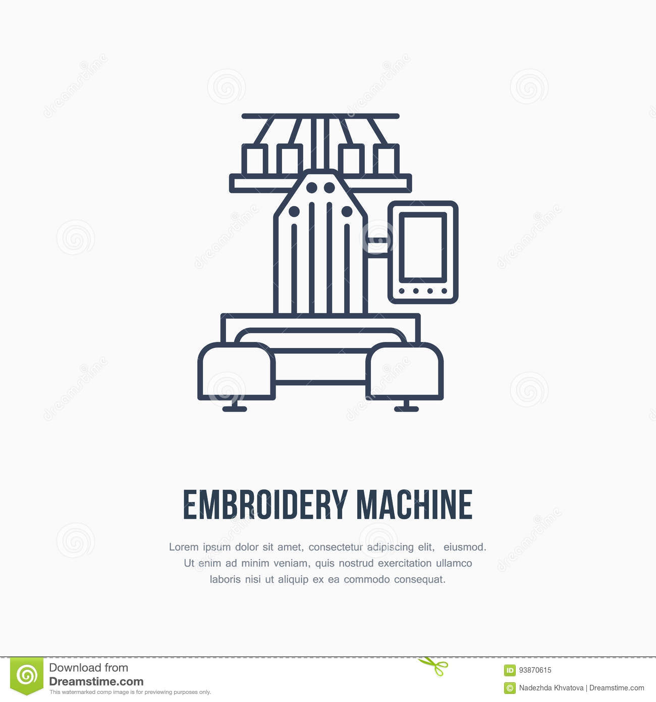 sewing embroidery machine flat line icon logo vector