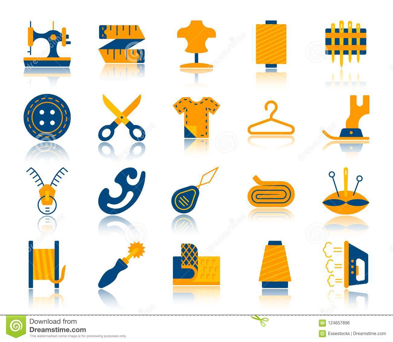 Sewing Simple Flat Color Icons Vector Set Stock Vector