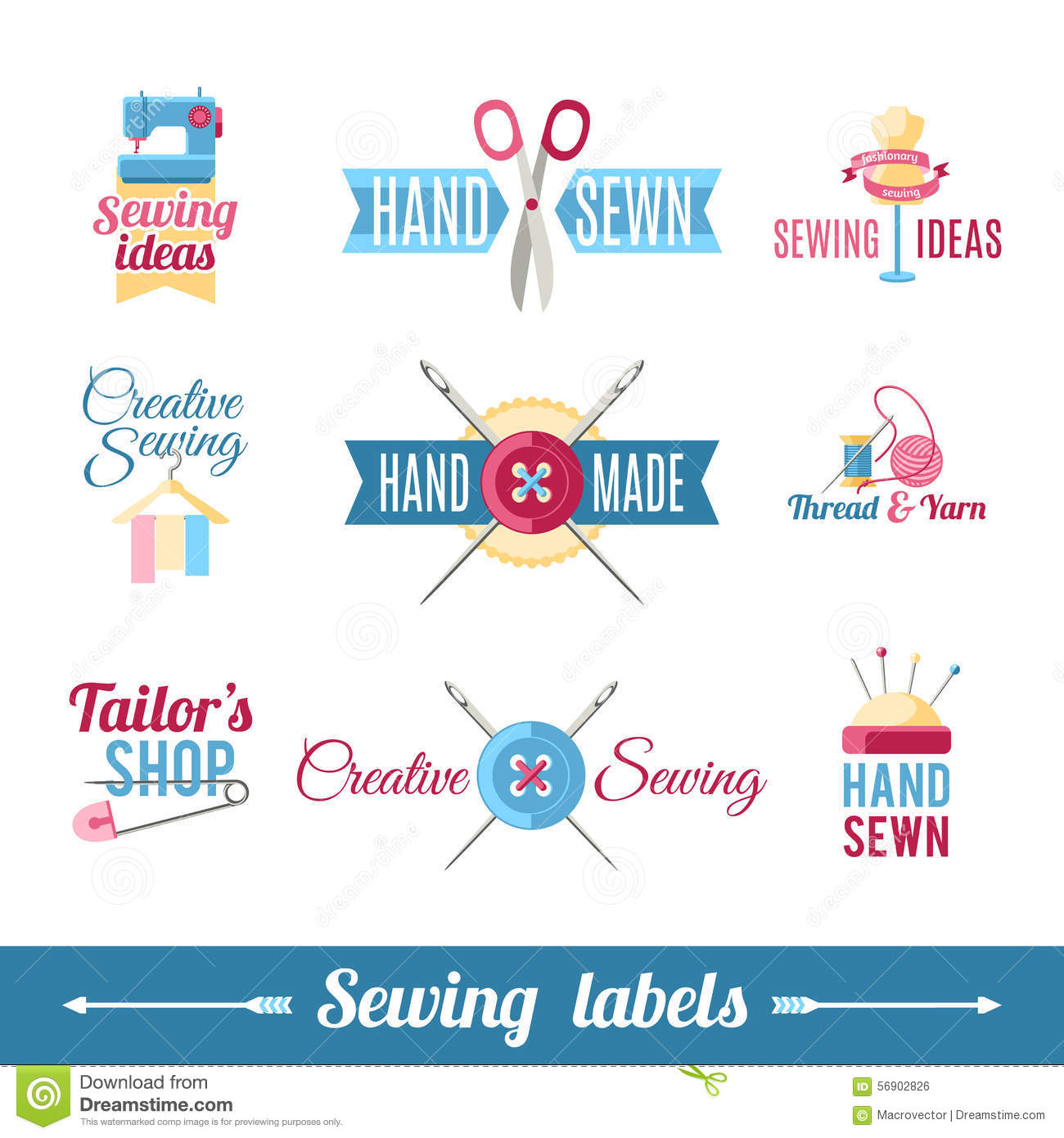 Sewing labels pictograms collection stock vector image for Clothing identification labels
