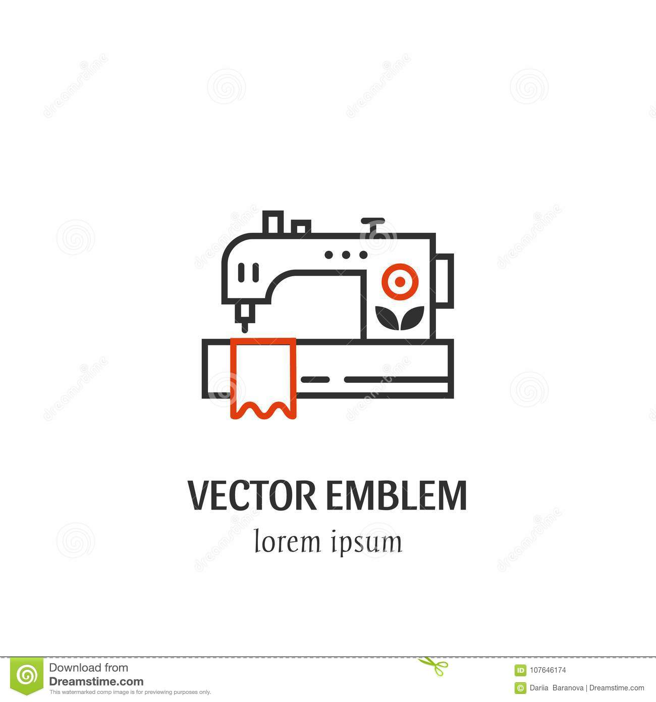 Sewing Machine Icon In Linear Style Stock Vector