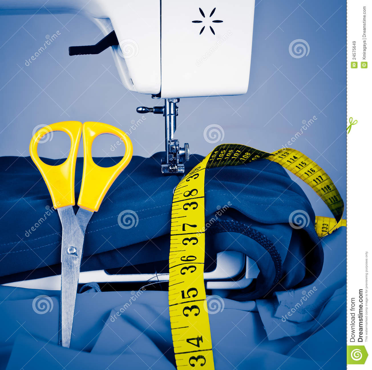Sewing machine, measuring tape and scissors