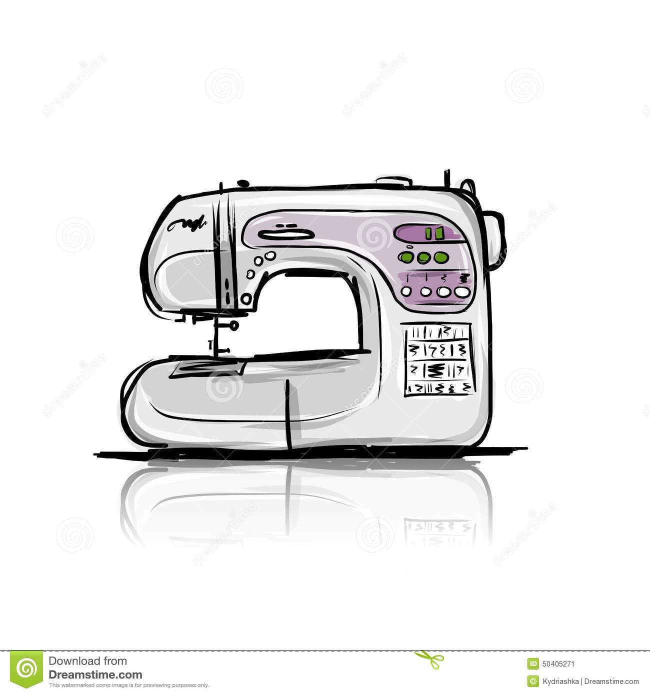 Sewing Machine Modern Tro Sketch Your Design Vector Illustration Abstract