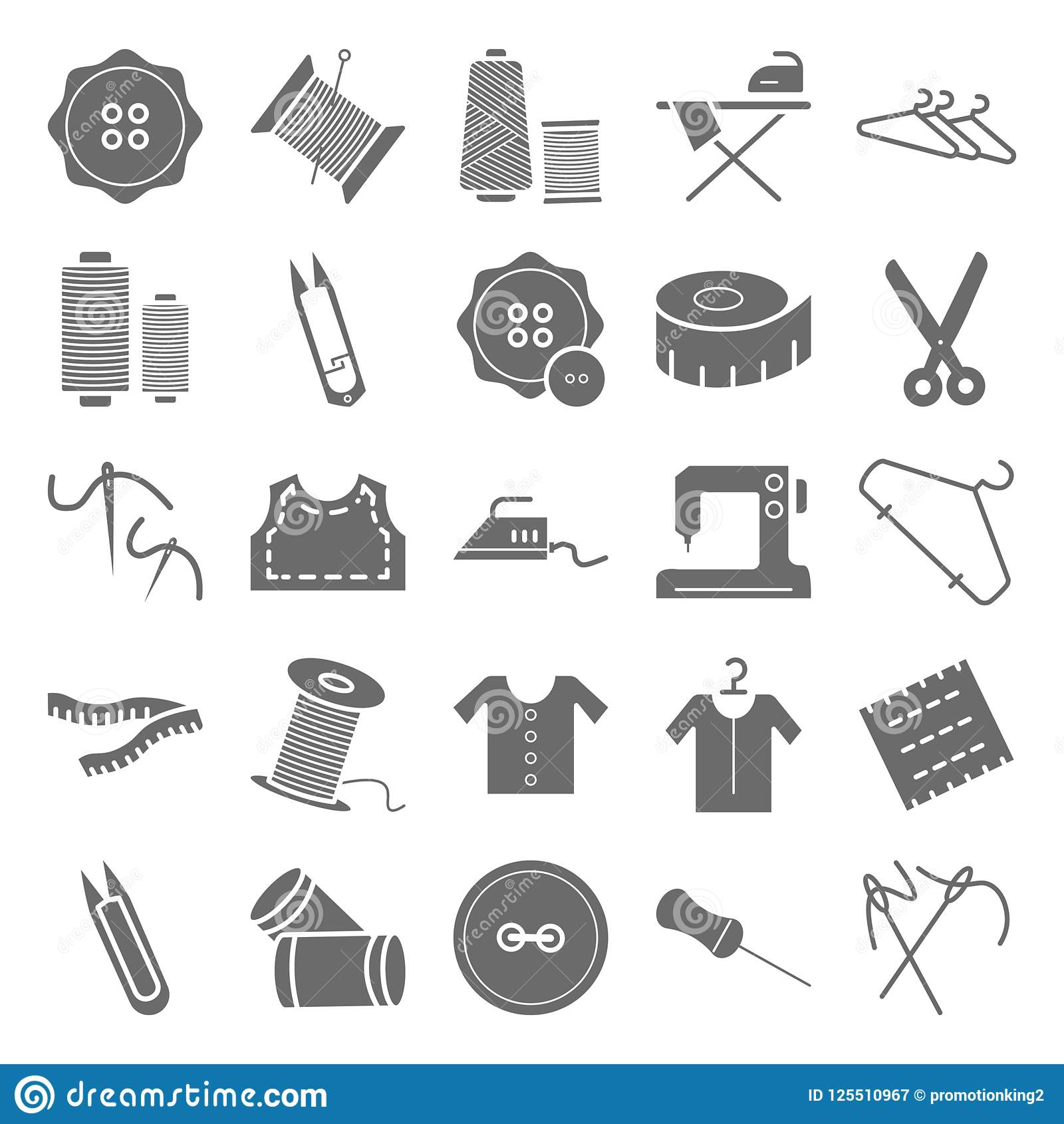 Sewing Material Isolated Vector Icons