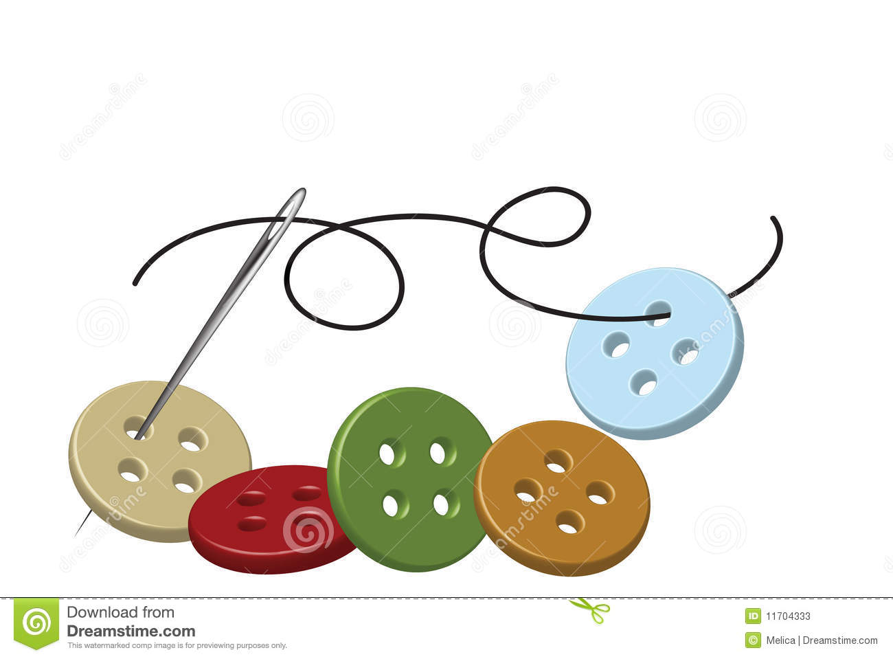 Sewing Needle And Thread With Buttons Stock Photos - Image: 11704333