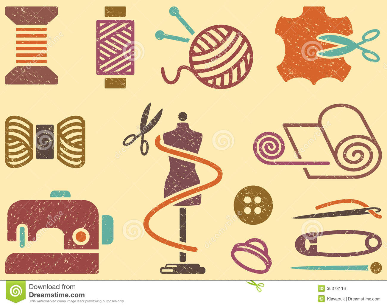 Sewing and needlework background stock vector - Decoracion paredes vintage ...
