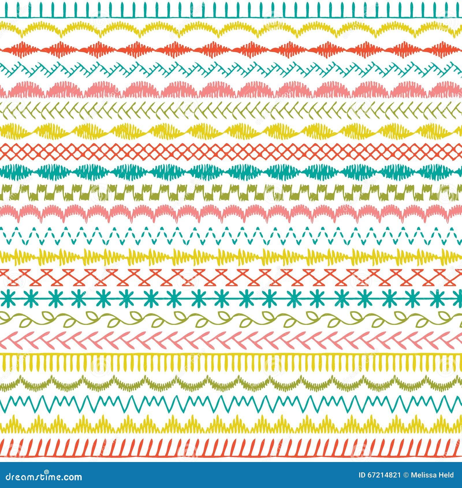 Sewing stitch borders stock illustration image
