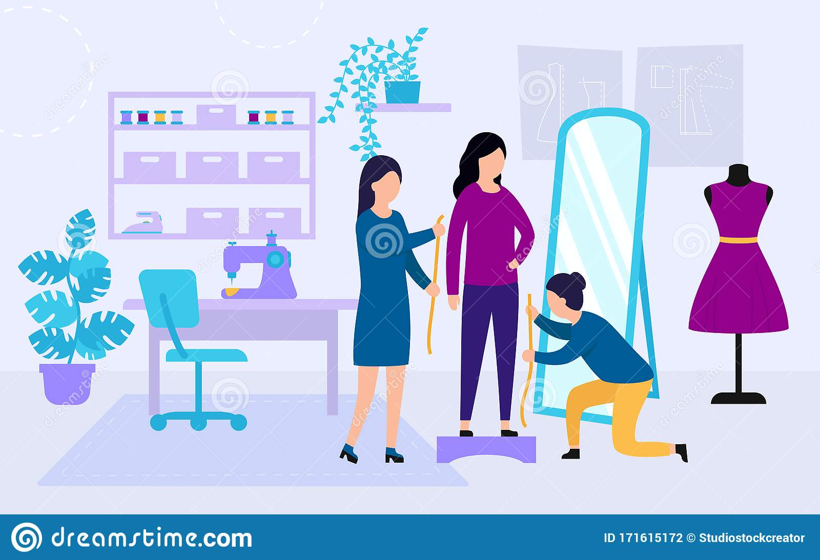 Sewing Studio Concept Process Of Designing And Making Clothes Dressmakers Are Measuring Girl S Clothes Size Clothing Stock Vector Illustration Of Garment Character 171615172
