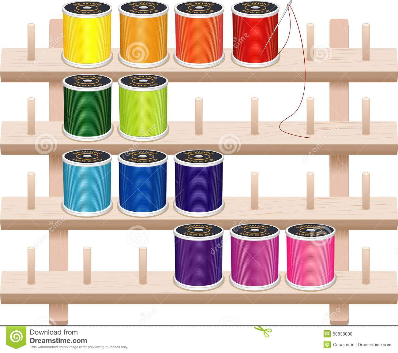 Sewing Thread Storage Wall Rack Stock Vector Image 50838000