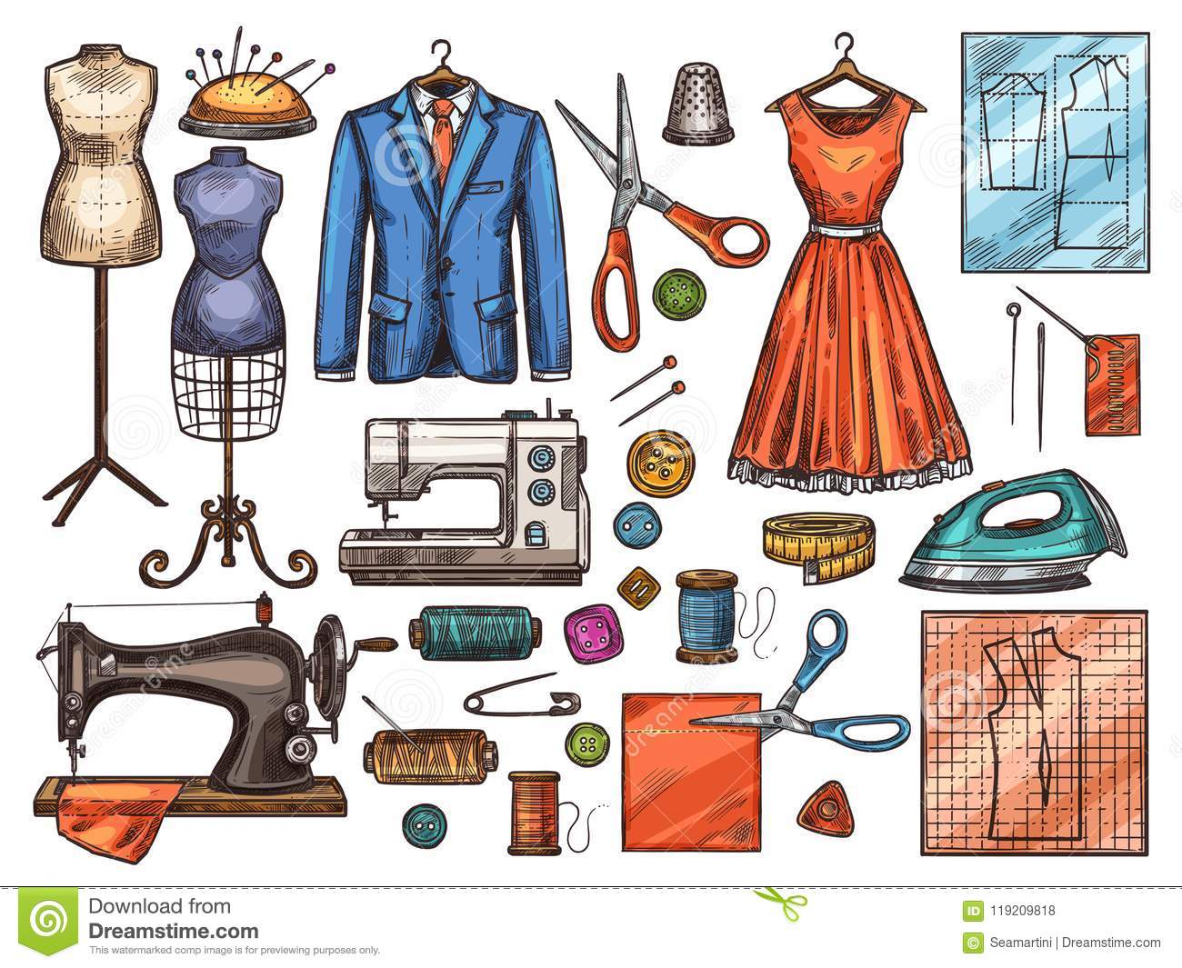Sewing Tool And Tailor Equipment Sketch Design Stock Vector Illustration Of Hobby Dress 119209818