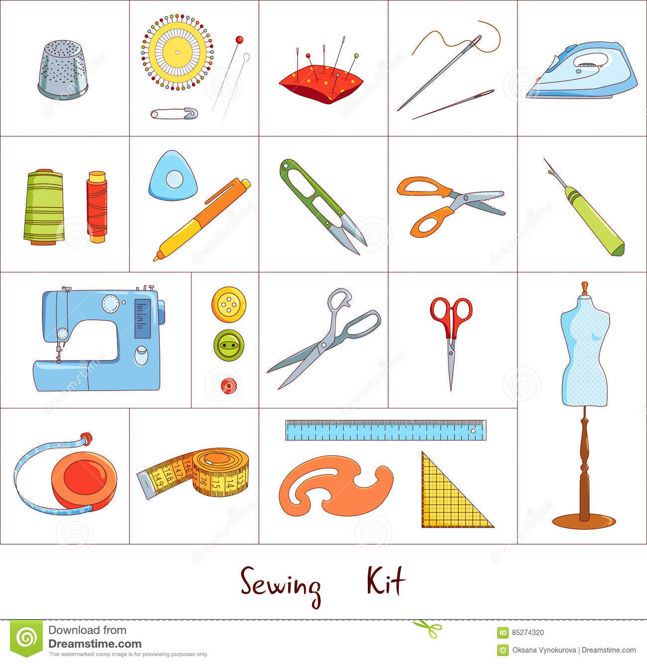 Sewing Tools Kit, Vector Icons Stock Vector - Illustration of ...