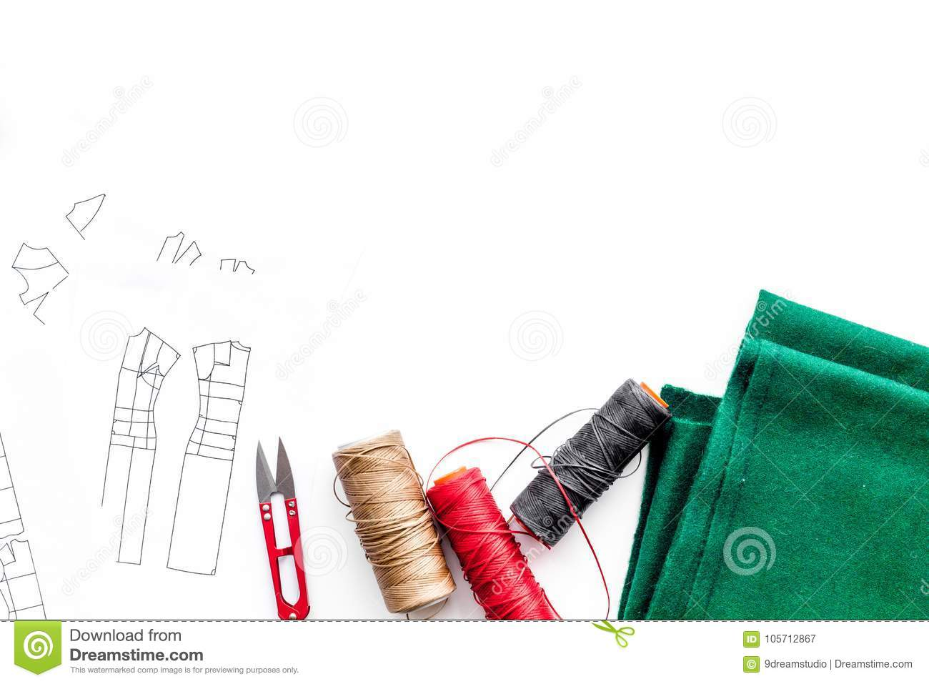 In Sewing Workshop. Textile, Thread, Sciccors, Pattern On White ...