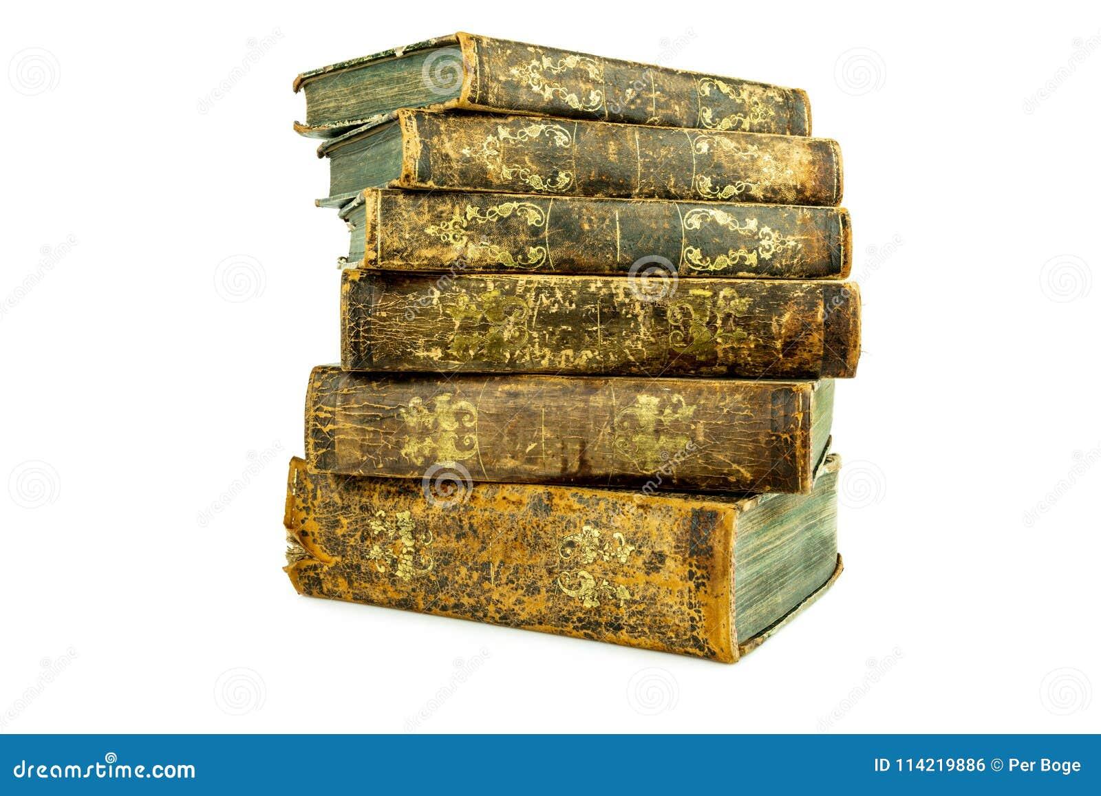 Sex åldrades forntida gamla staplade läderböcker
