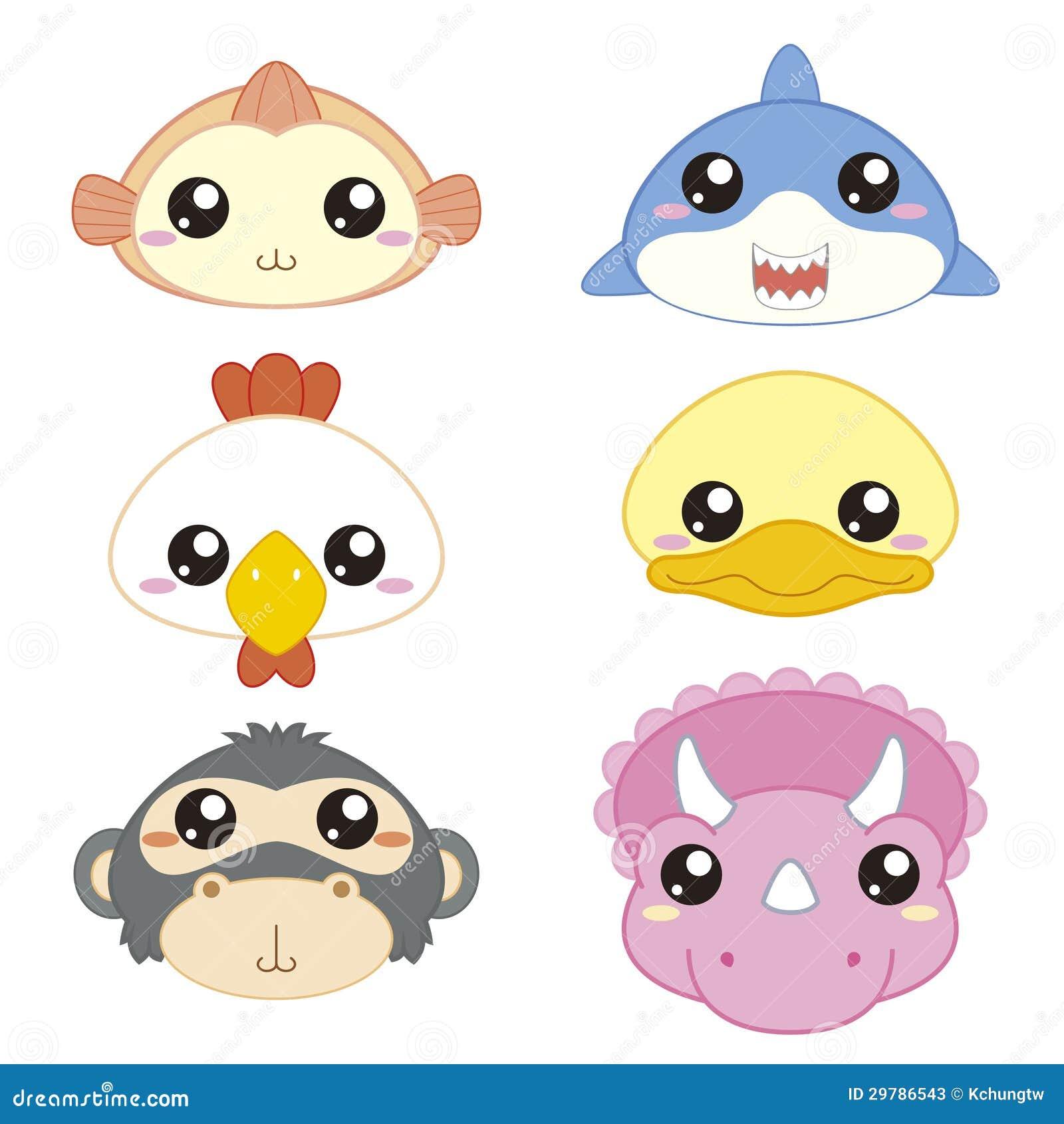 Djura head symboler för gullig tecknad film