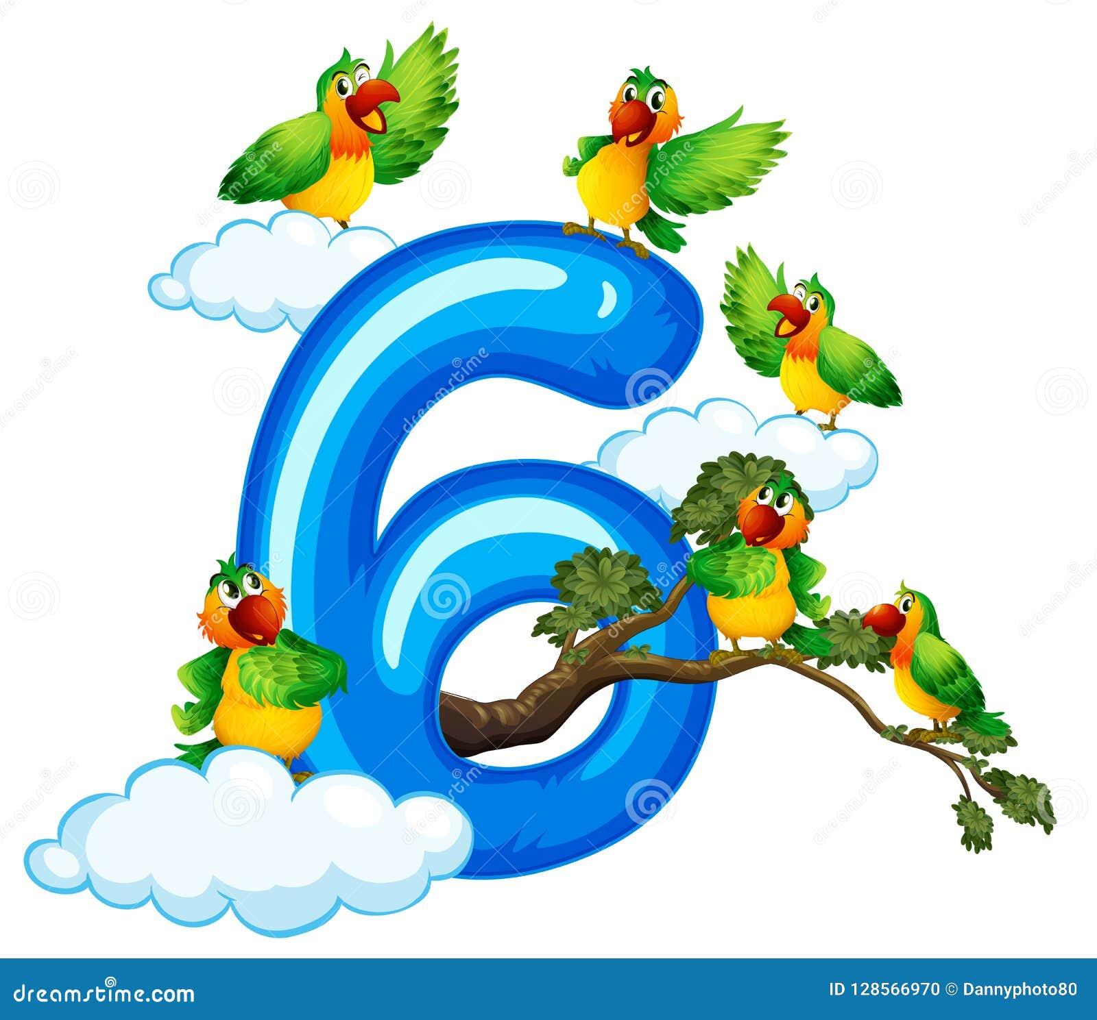 Sex fågel på himmel