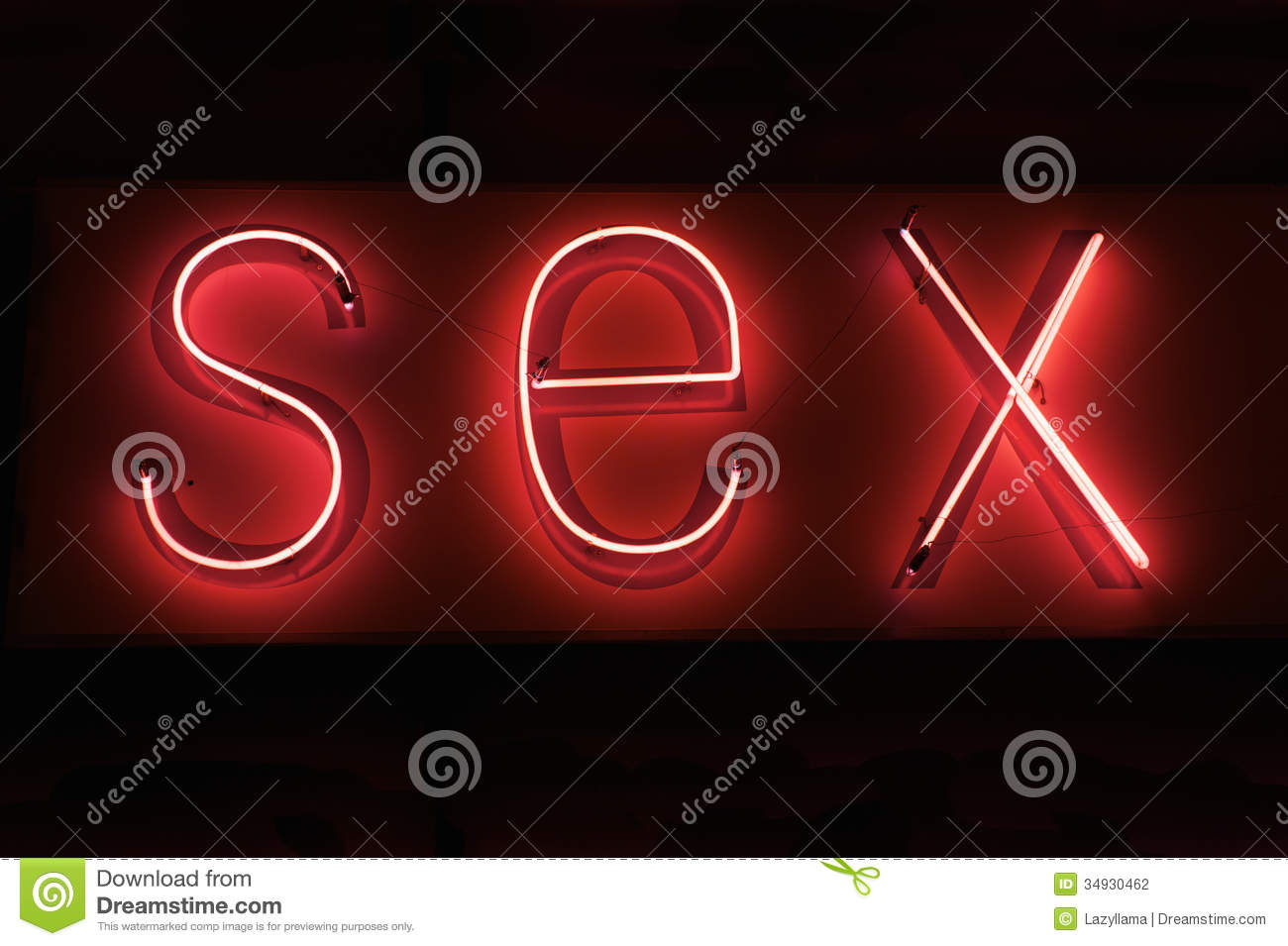 SEX hot red neon on black background