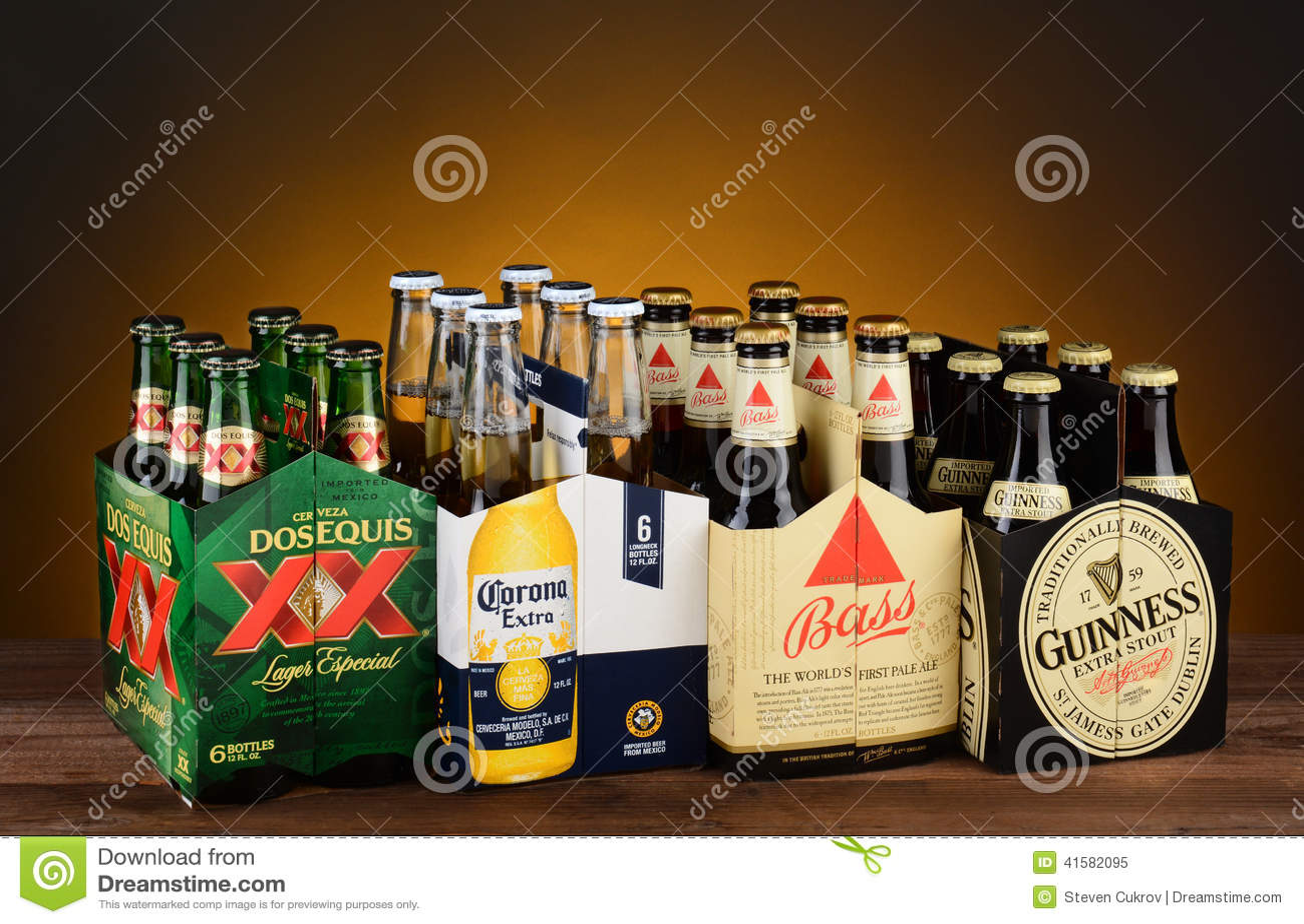 Sex packar av importerat öl