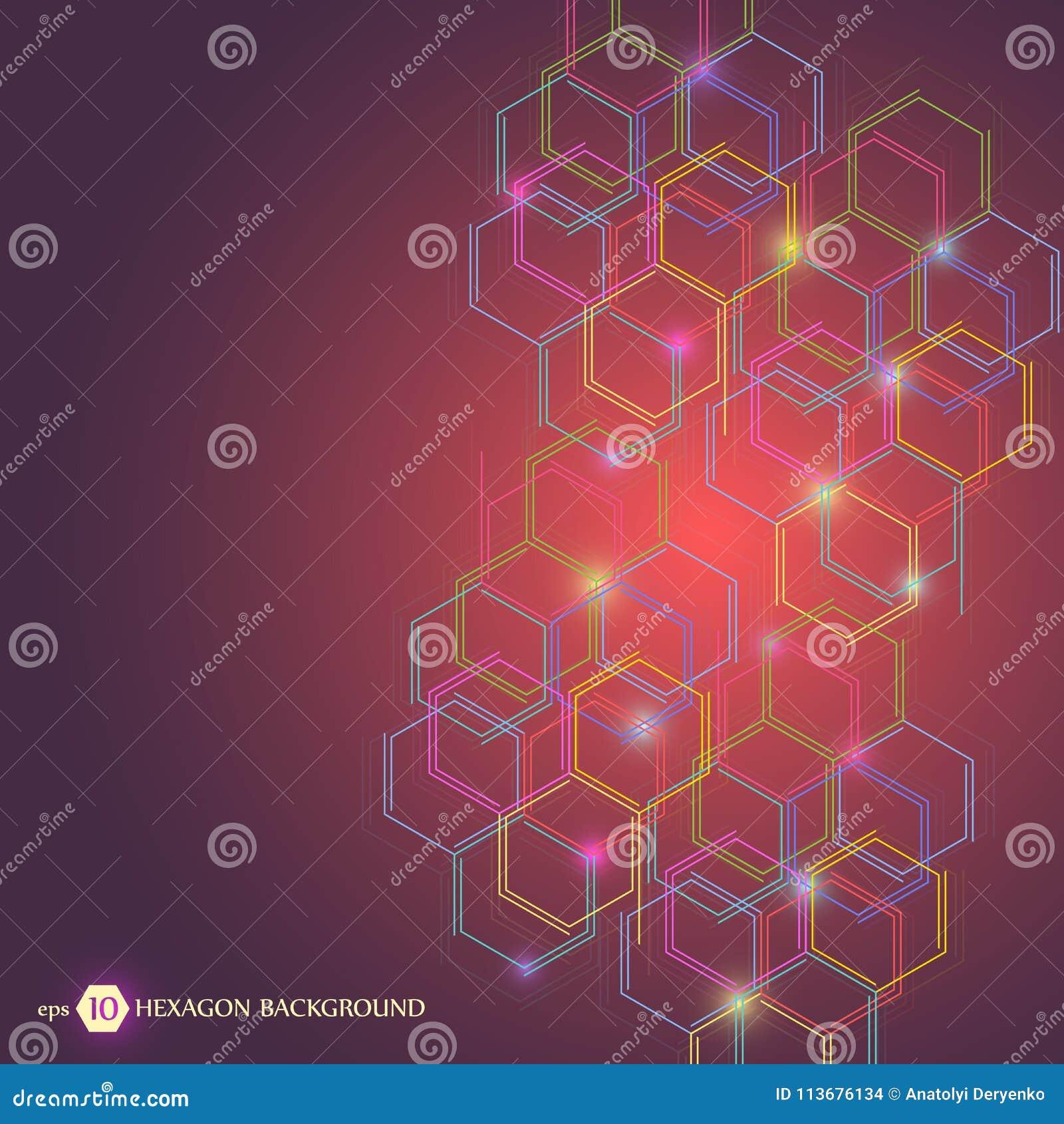 Sexhörnig geometrisk bakgrund Affärspresentation för din design och text Minsta grafiskt begrepp Materiel för EPS 10