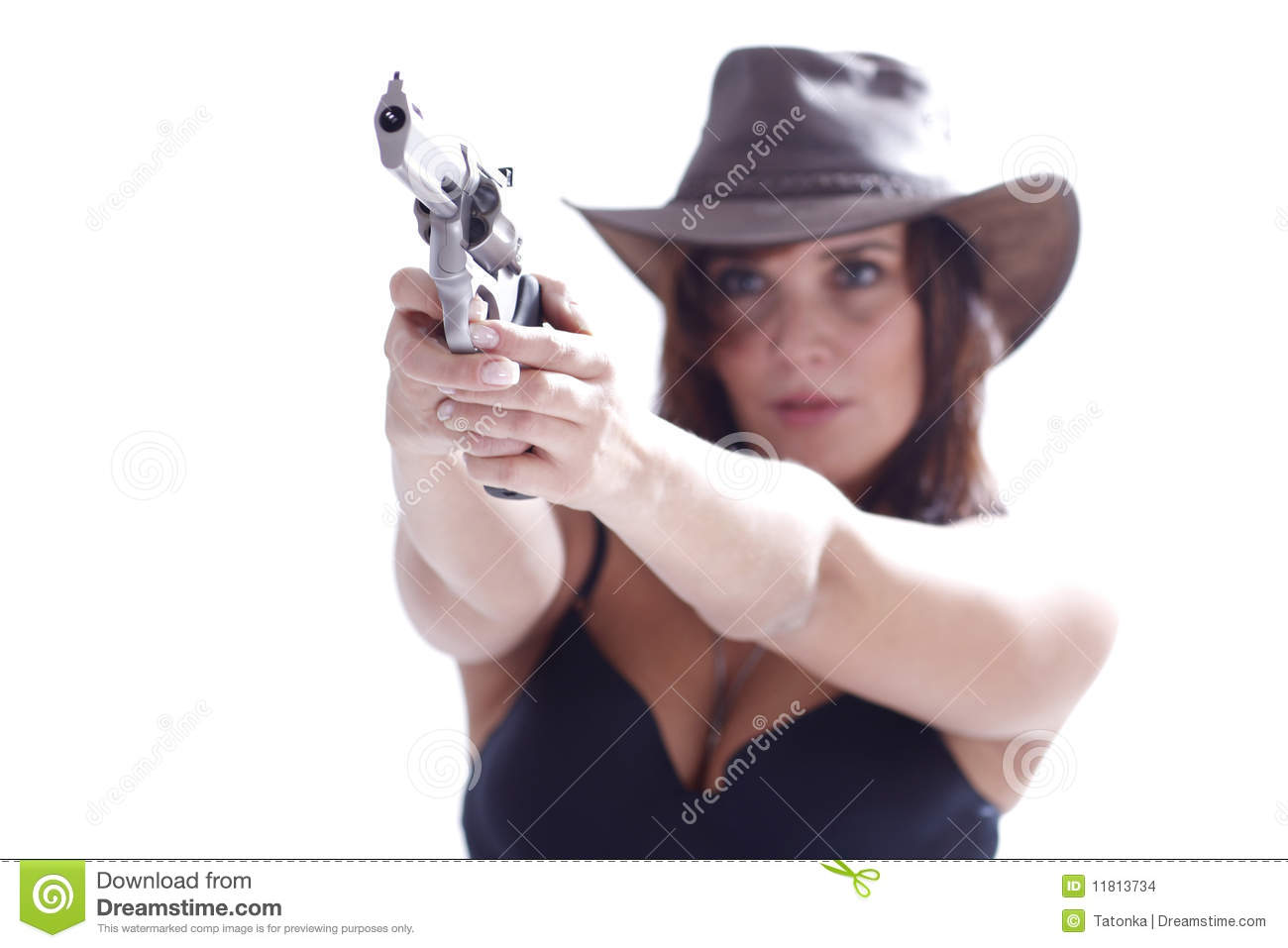 sexi girl in hat with gun stock photo. image of detective - 11813734
