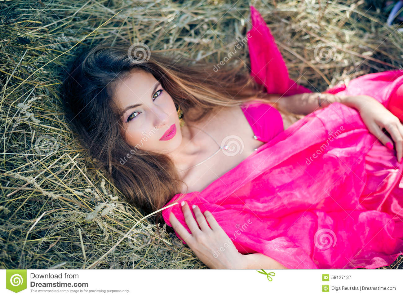 sexi amazing young lady with long hair in pink stock image - image