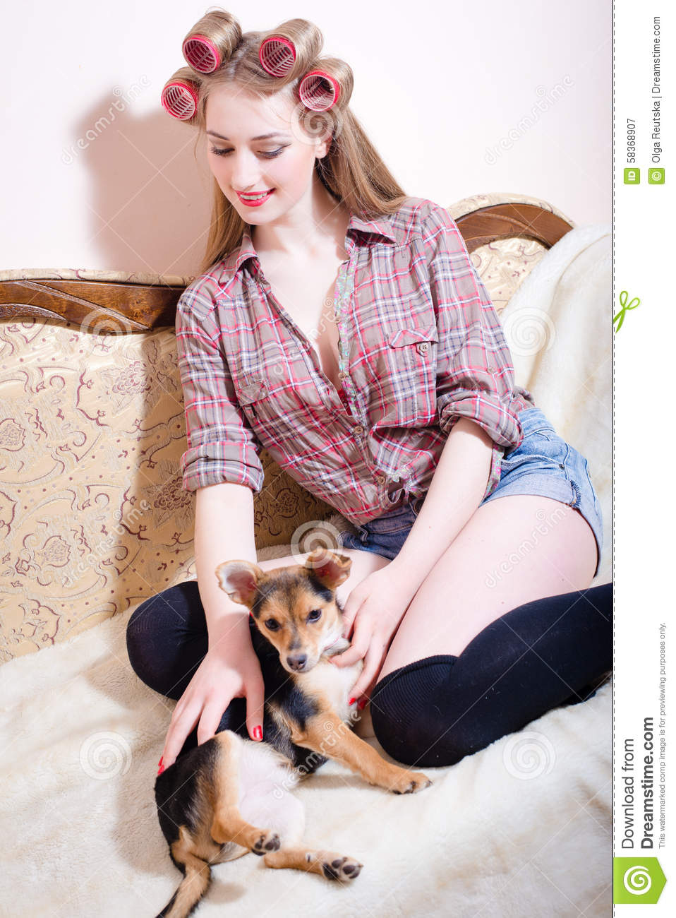 sexi young beautiful girl stroking a dog stock image - image of cute
