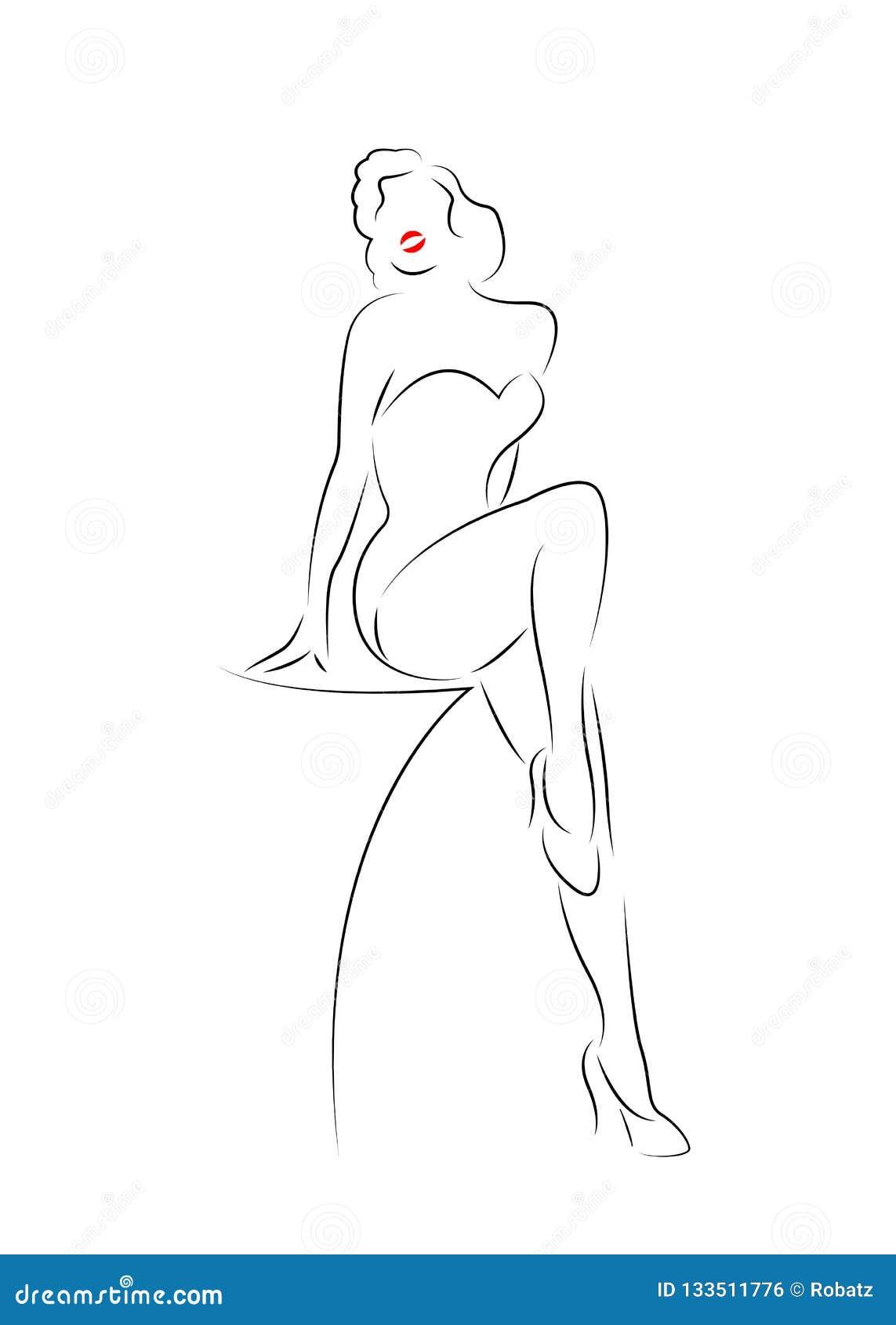 Sexig kvinnakonturdiva Hollywood som dras i linjen stil, flickaöversiktsteckning som isoleras i vit bakgrund, burlesk fash