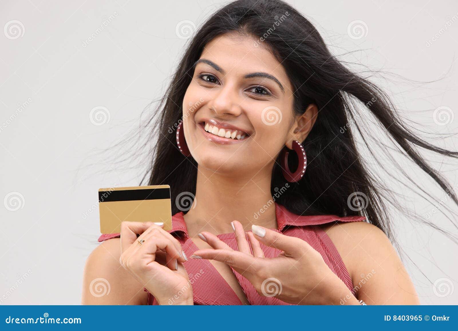 Sexigt le för kortkrediteringsflicka