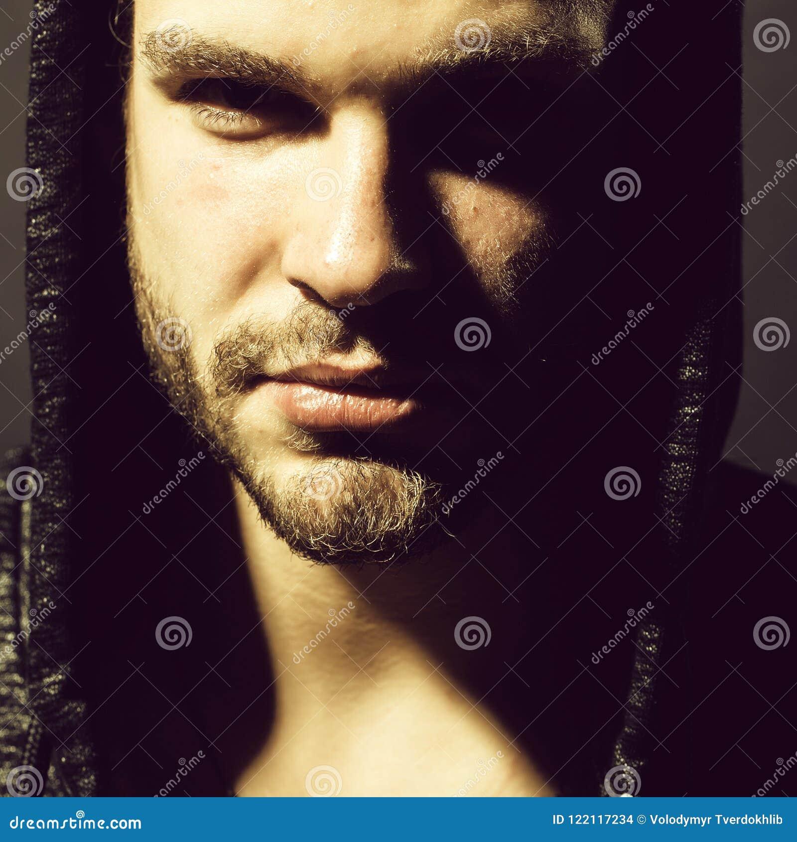 Sexual confident man stock photo. Image of hood, closeup