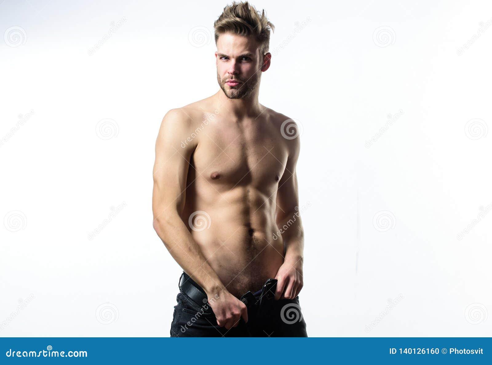 Sexuelle Leistung Fühlen so heiß Verlockendes Machogefühl sexy Attraktiver sexy Körper Überzeugt in seinem Reiz