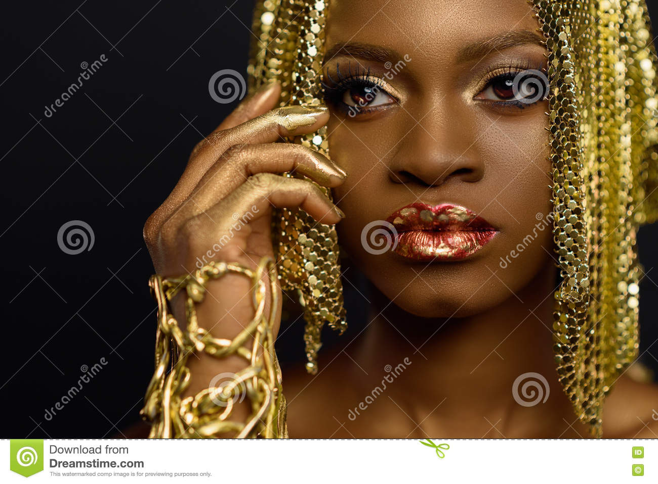 african american female model with glossy makeup and golden wig face art stock image image. Black Bedroom Furniture Sets. Home Design Ideas