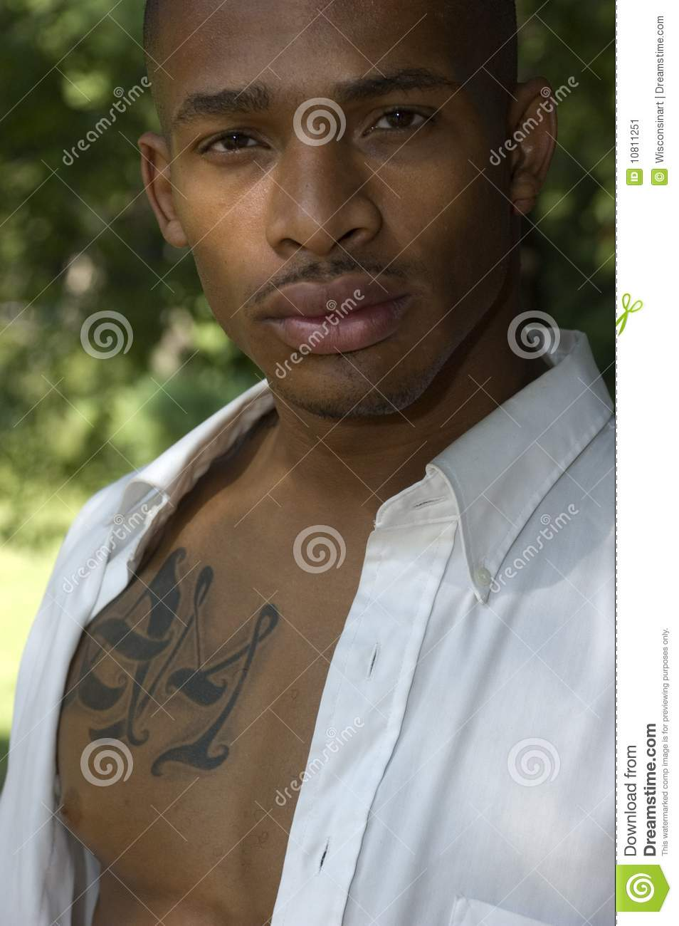 Sexy African American Male Closeup With Tattoo Stock Image