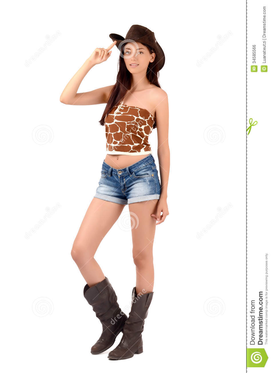 american cowgirl with shorts and boots and a cowboy hat.
