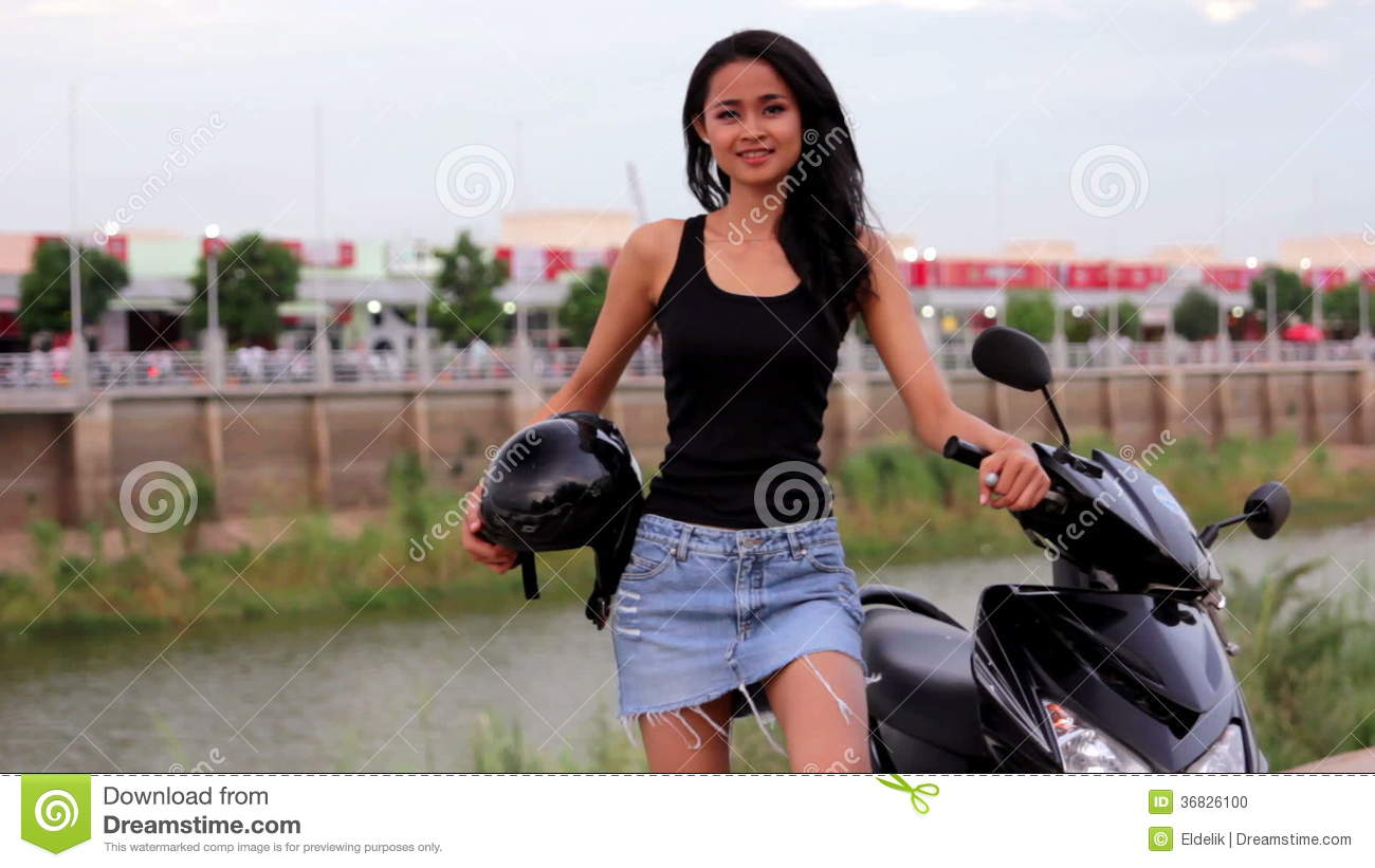 Asian Girl With Mini Skirt Helmet Motorcycle In Cambodia Stock Video Footage Video Of Motorcycle Driving 36826100