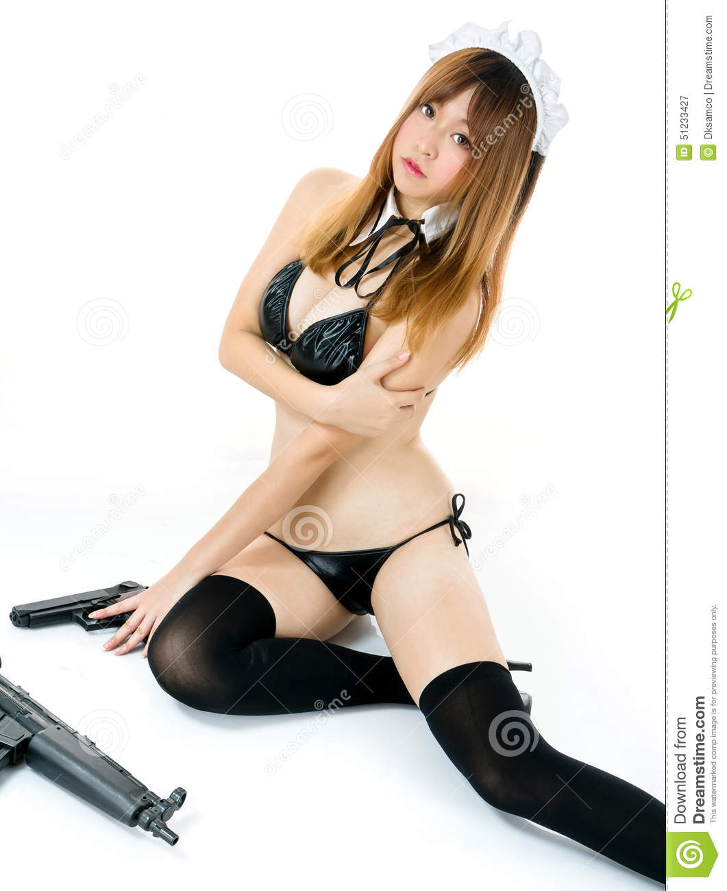 For Cosplay girl with gun about still