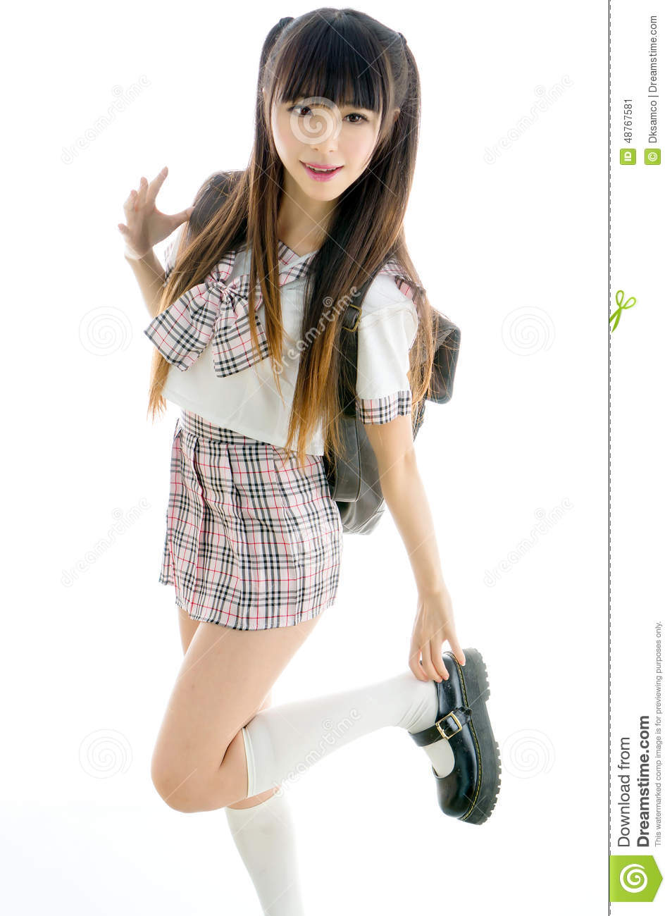 sexy asian girl student in school uniform stock photo